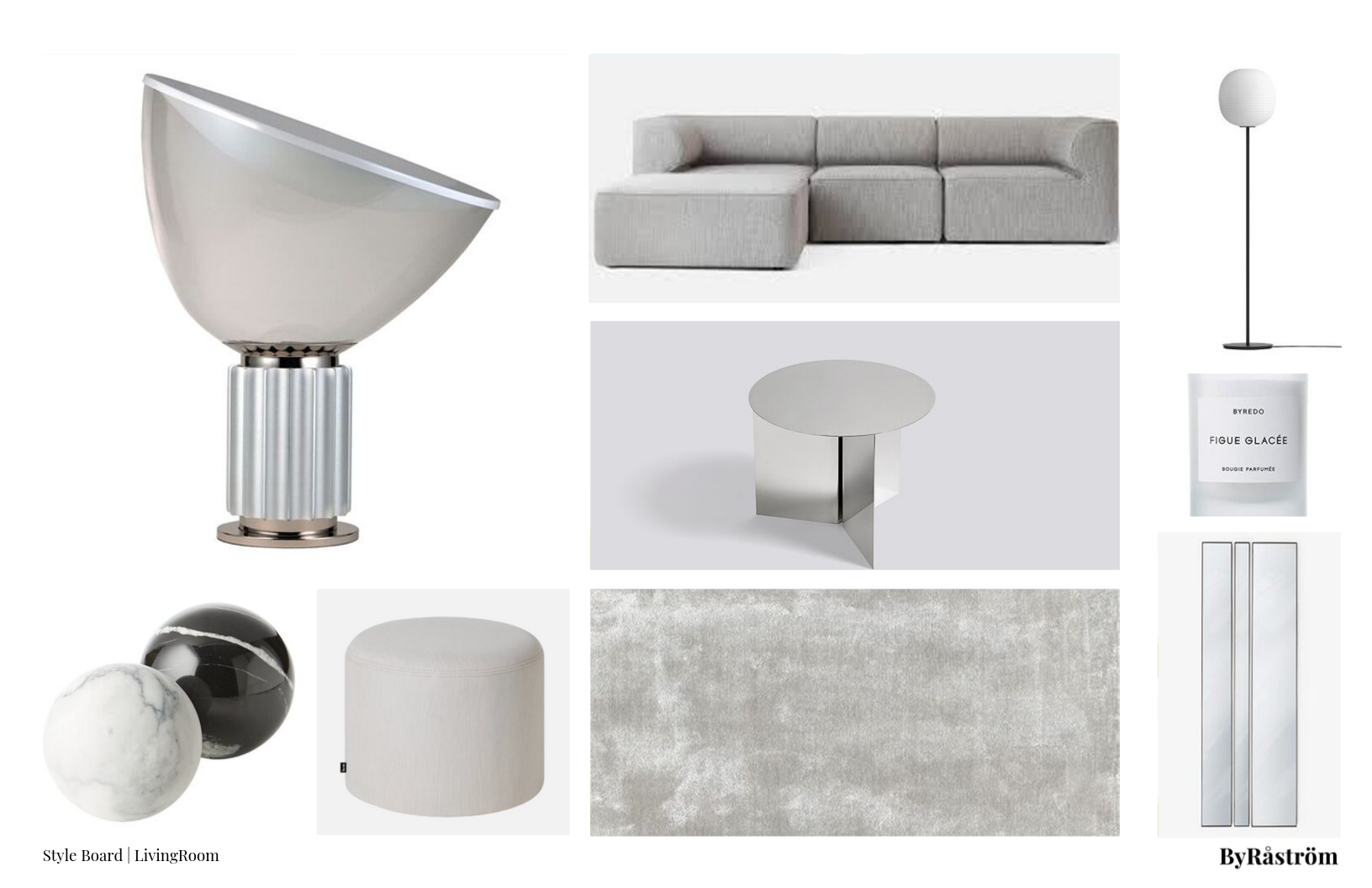 Silver Gray Living Room Mood Board