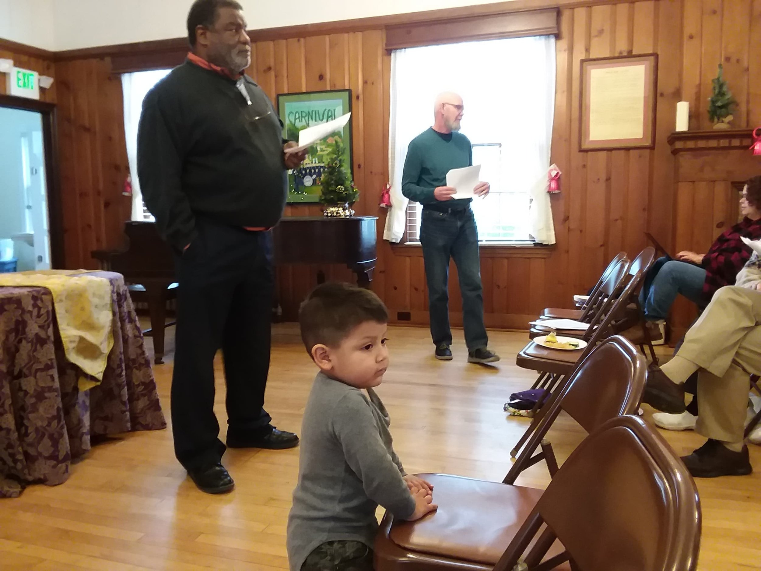 Treasurer William Taylor and Moderator Mike Sisco conducting the Annual Congregational Meeting (with support from Angel Gonzalez Morales).