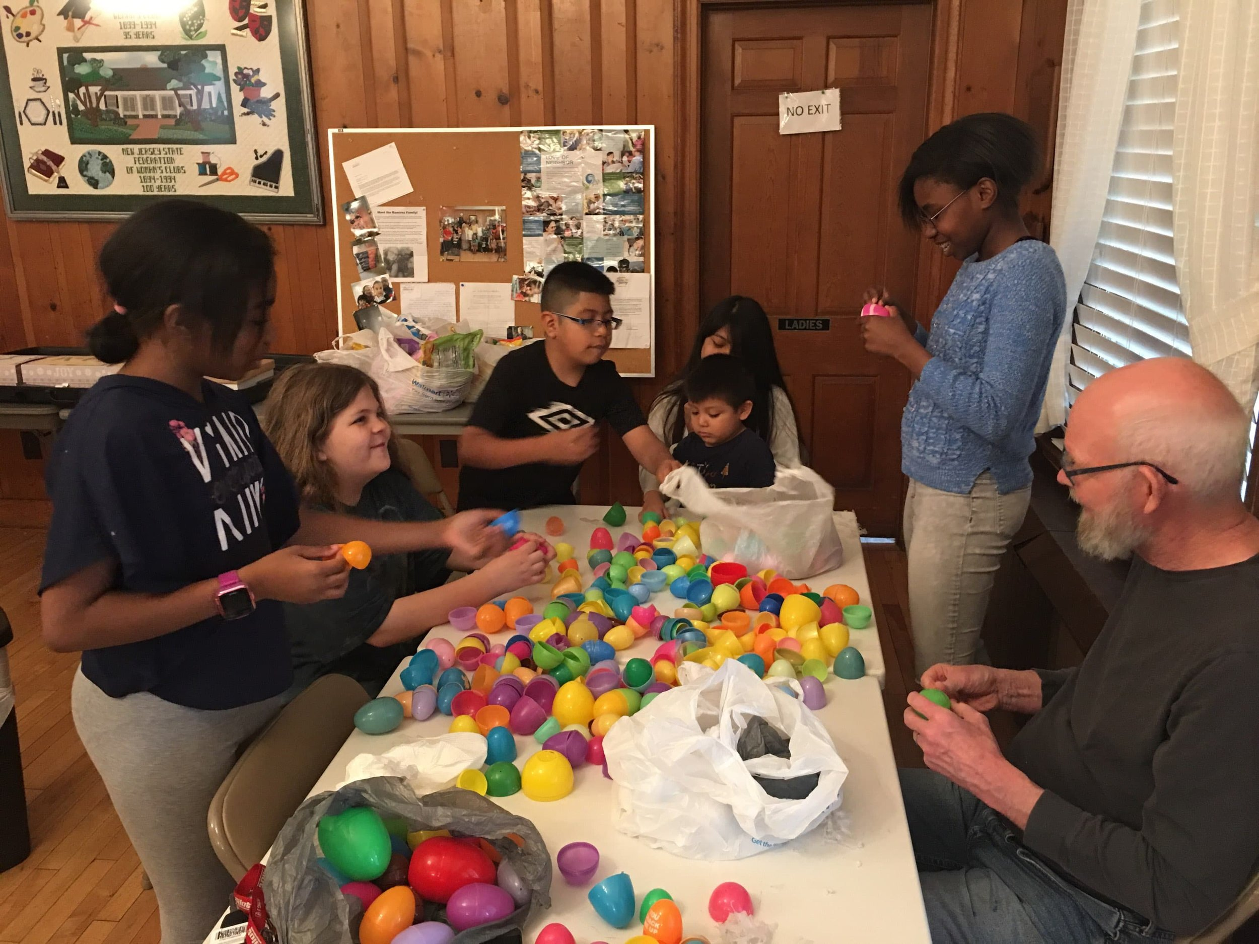 The Easter Bunny had some help to stuff 250 bunny eggs to get ready for the annual Grace UCC egg hunt after Easter Worship.