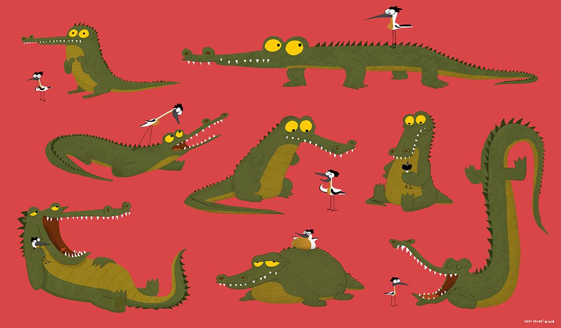 Crocodile and the Plover Bird/Coccodrillo e il Guardiano dei Coccodrilli (Pluvianus Aegyptius)