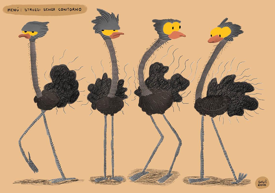 Menu, Ostriches without outline/Menù, struzzi senza contorno