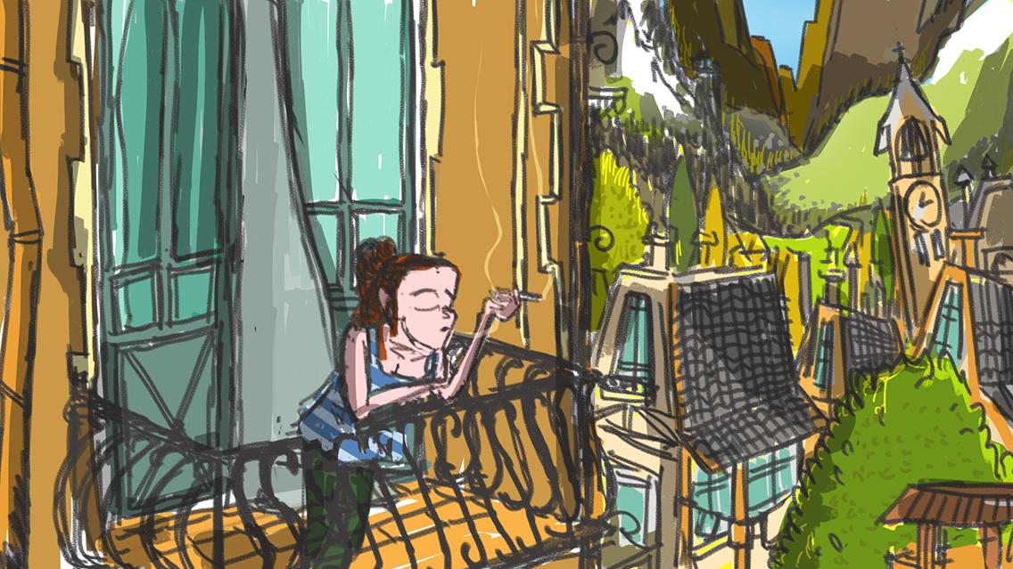 Speed Painting [16] 05/04/2018: a swiss balcony/un balcone in svizzera