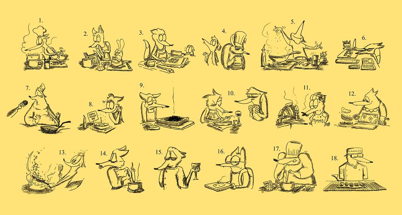 Contenuti_Low_Res_Luigi_Segre_Drawings_2018_Character_Design_Cooking_Coyotes_and_Foxes.jpg