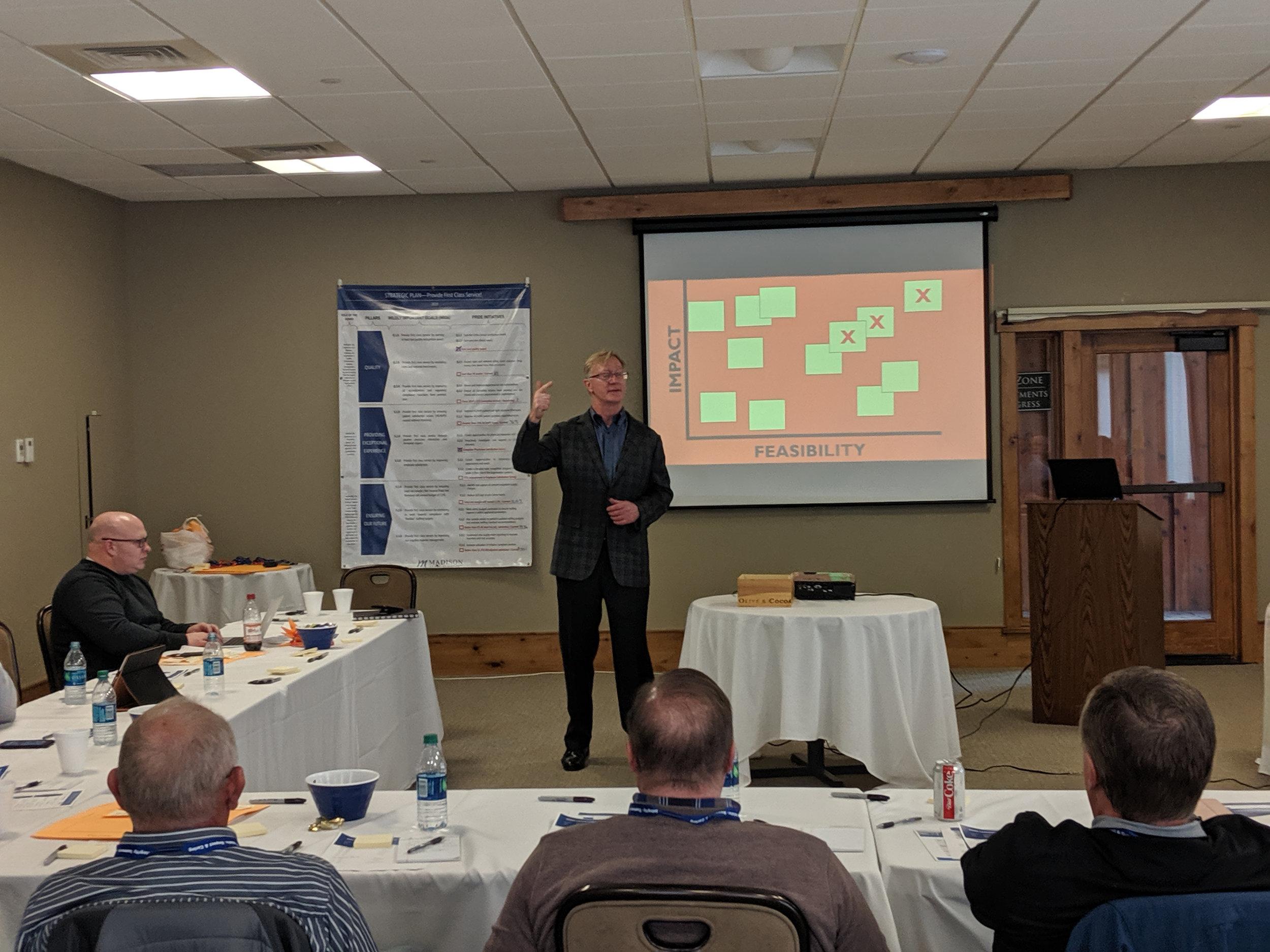 Presenting at the Madison Memorial Leadership Retreat