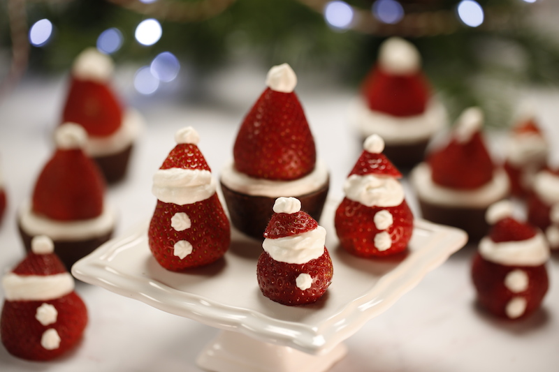 White Chocolate Strawberry Santas