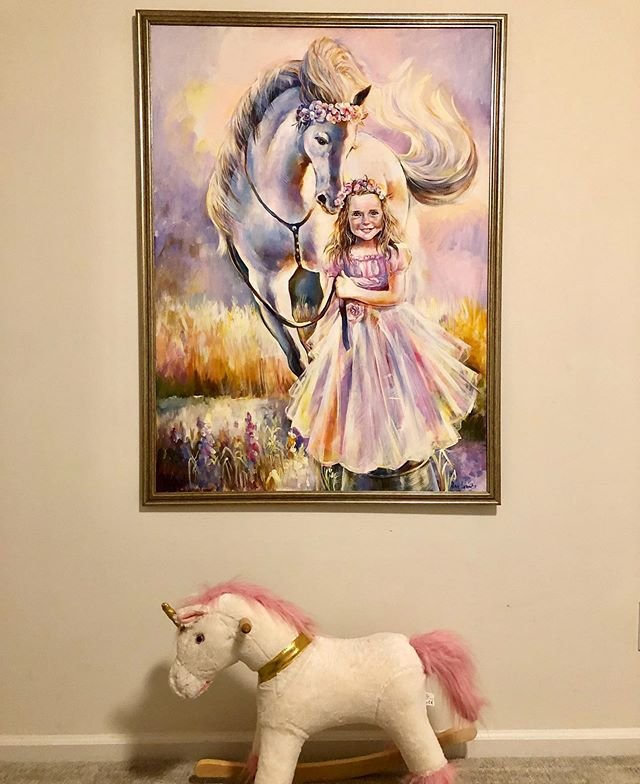 My mom painted this magnificent painting for Ems birthday😍😍❤️!!! Can't stop looking at it!!! If you know my mom, she's the most talented artist!!! She puts her heart and soul into each and every painting! !! My mom asked Em what she loves and Em replied horses so she created this masterpiece ❤️ something we will cherish for life!!!!!