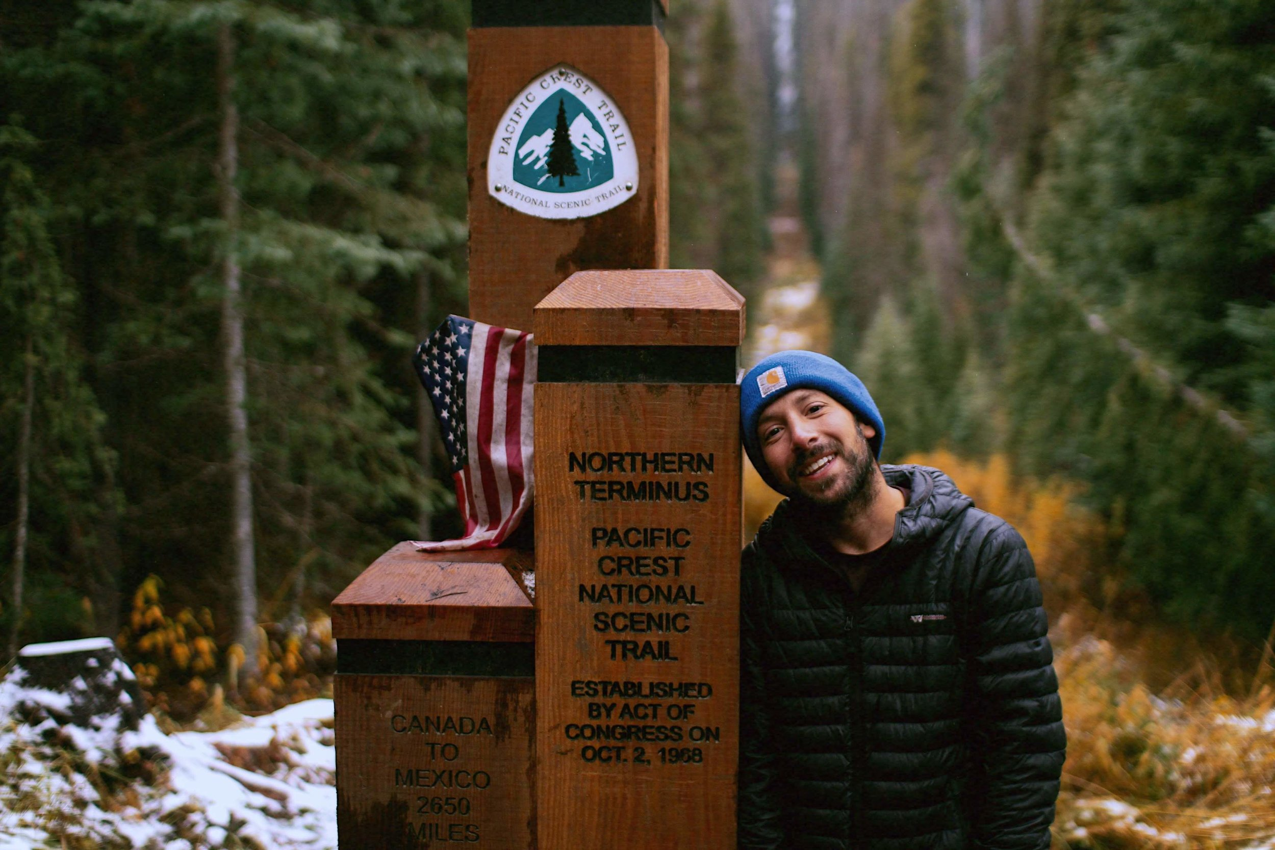 Oct. 5th, 2018 - My finish photo at the Northern Terminus of the Pacific Crest Trail.