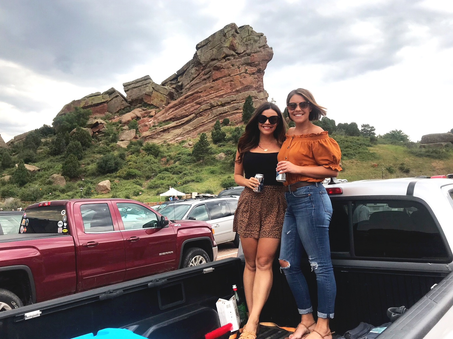 My sister and I tailgating at Red Rocks