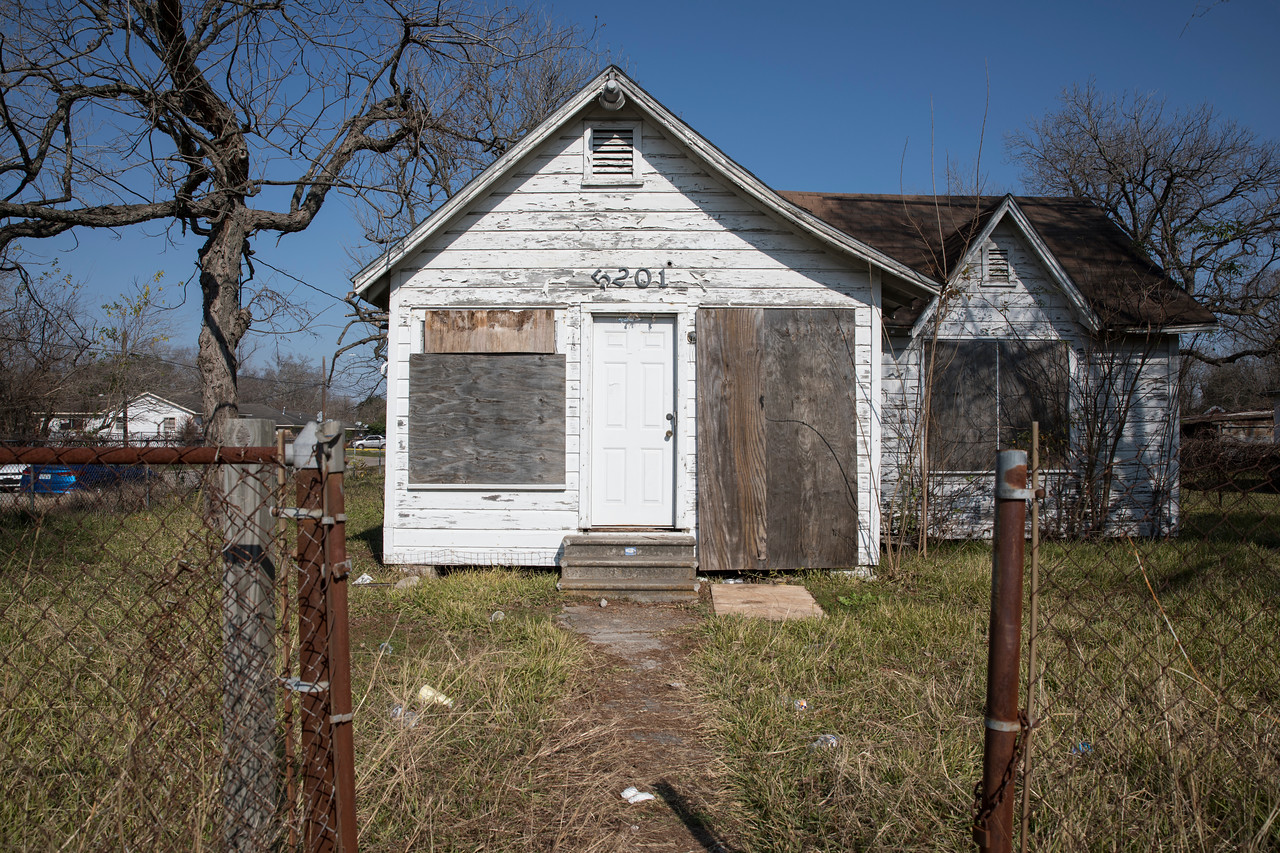 A boarded-up home in Kashmere Gardens, considered Ground Zero during the flooding following Hurricane Harvey.