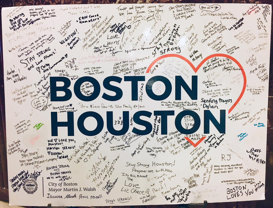 This sign sits outside city council chambers. Though Boston's crisis was man made (the Boston Marathon bombing) instead of created by nature, the human connection, feelings of loss and helplessness are still the same.