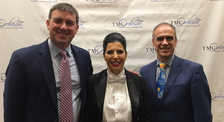 Richard Hickam, Libi Lebel and Dr. Paulo Torres following the October 20 concert at Hobby Center. Mr. Hickam and Dr. Torres visited with TMCO officers and members about starting a Medical Orchestra in Orlando FL