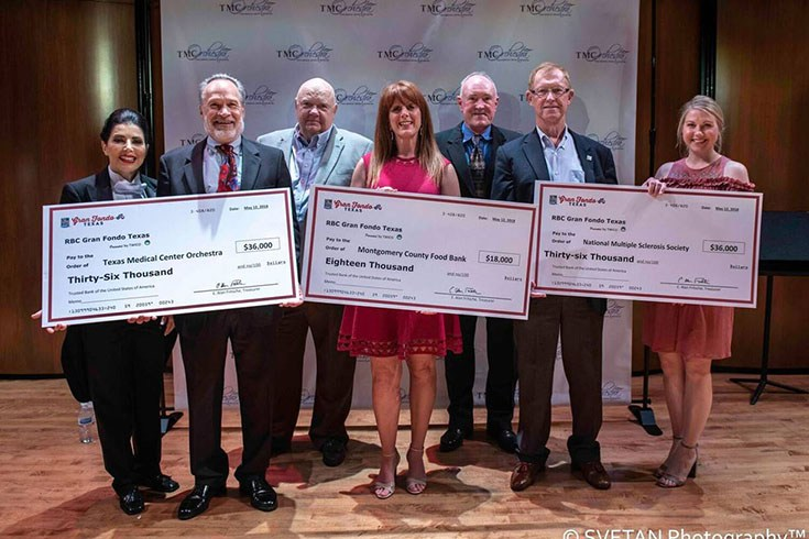 Pictured are Libi Lebel, Artistic Director of TMCO, Ken Sebek, Executive Director of TMCO, Alan Fritsche, Treasurer of the Gran Fondo Steering Committee, Allison Hulett, President and CEO of the Montgomery County Food Bank, Rick Lewis, Chairman of the Gran Fondo Steering Committee, George Carter, Director of MS Society, Lori Magin, Director of Development of Montgomery County Food Bank.