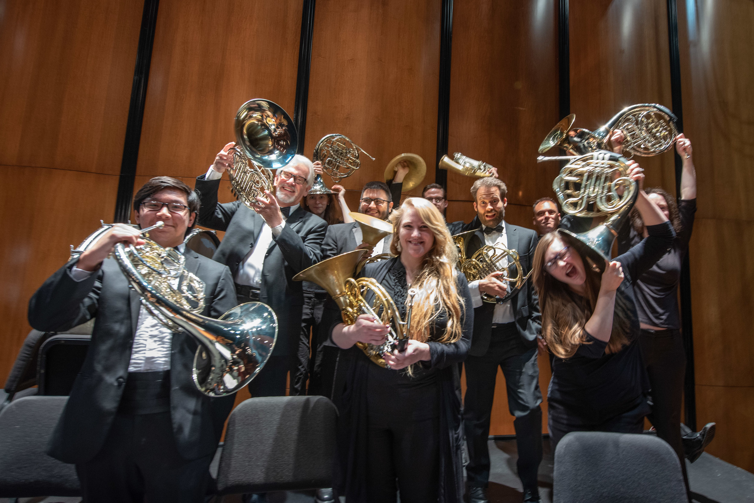 TMCO french horns having some fun after performing Mahler Symphony No. 3.