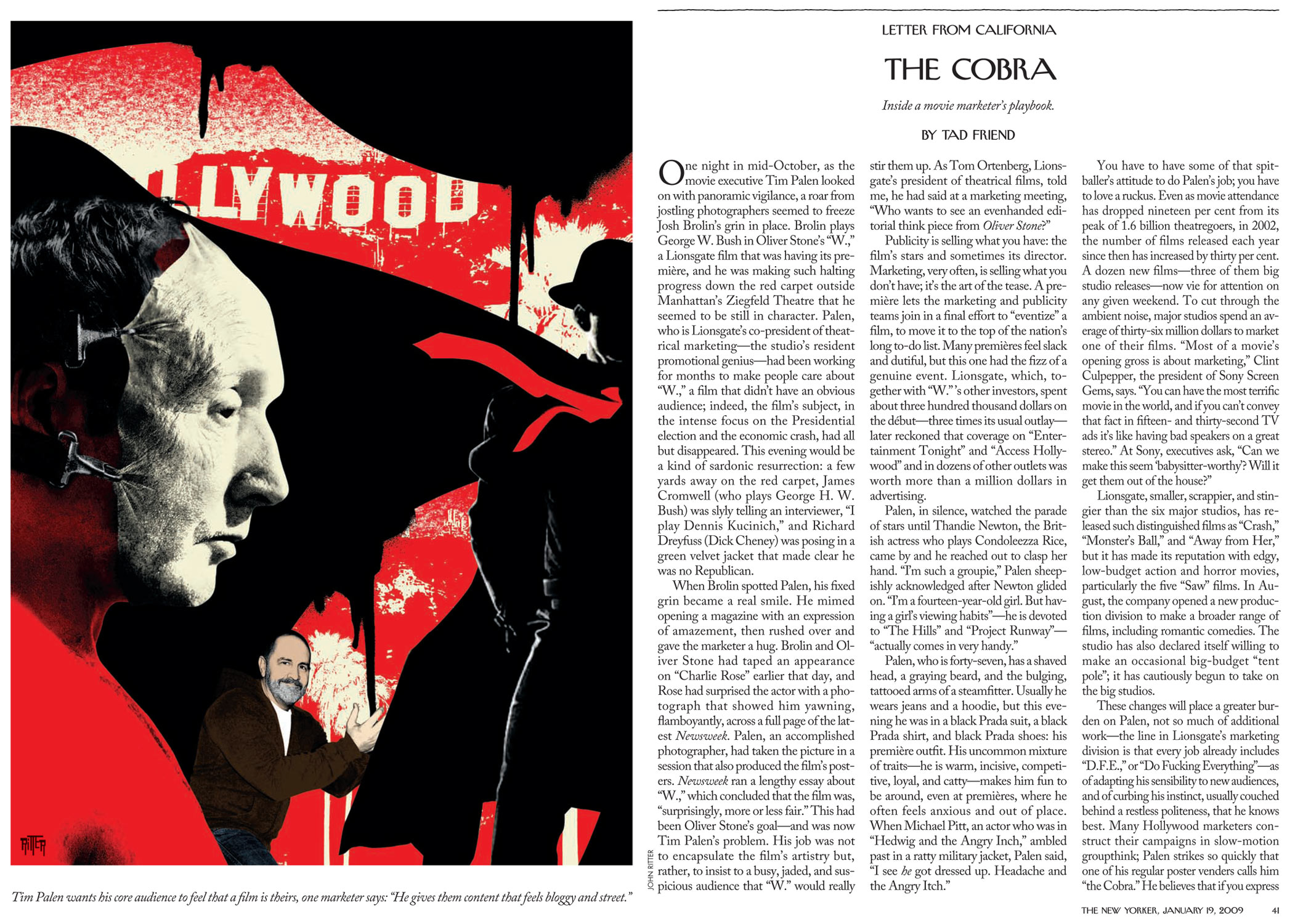 """Tim Palen wants his core audience to feel that a film is theirs, one marketer says: """"He gives them content that feels bloggy and street.""""   Illustration by John Ritter"""