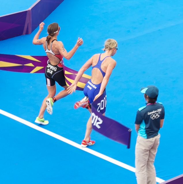 2012 Womens Olympic Triathlon finish in London -  After two hours of racing with the best in the world, what would one or two seconds in transition time have meant for the top three athletes?