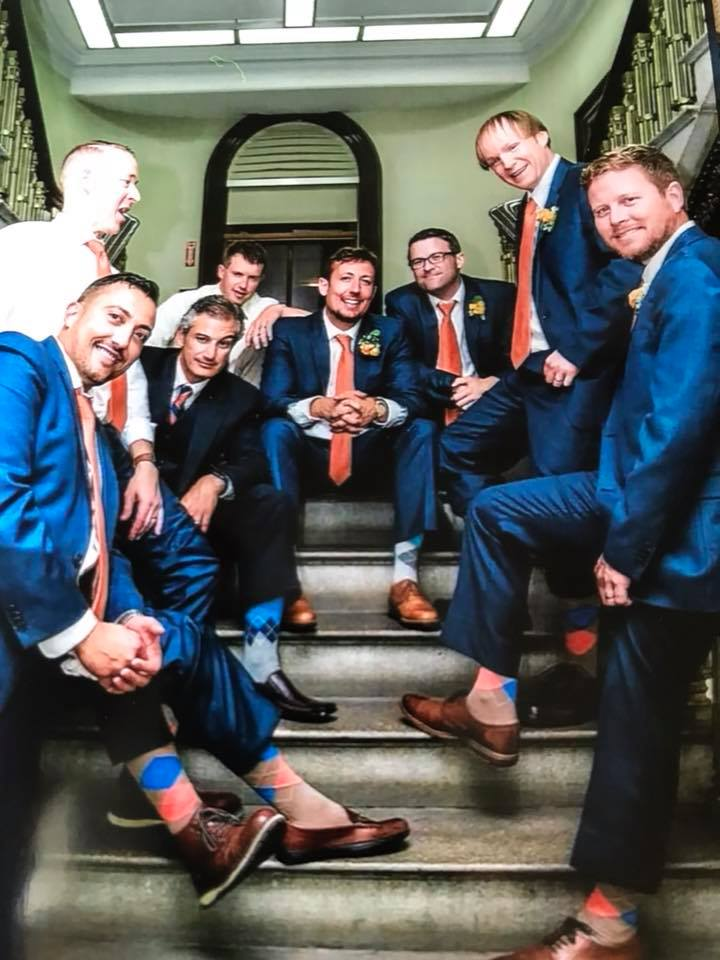 Some of my best men and I on the steps to my future office.
