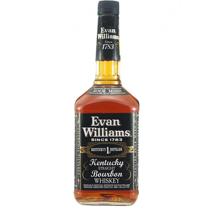 EVAN WILLIAMS BLACK  AROMA  Dark sweets like caramel and butterscotch pair up with notes of vanilla frosting and corn. Hints of dark fruit, red licorice and spice. Light touches of wood  TASTE  Caramel corn, peppery spice, dark fruit, citrus rind imitation vanilla and corn nuts  FINISH  Medium and filled with notes of raw corny grin, caramel, peanut butter, and a touch of spice