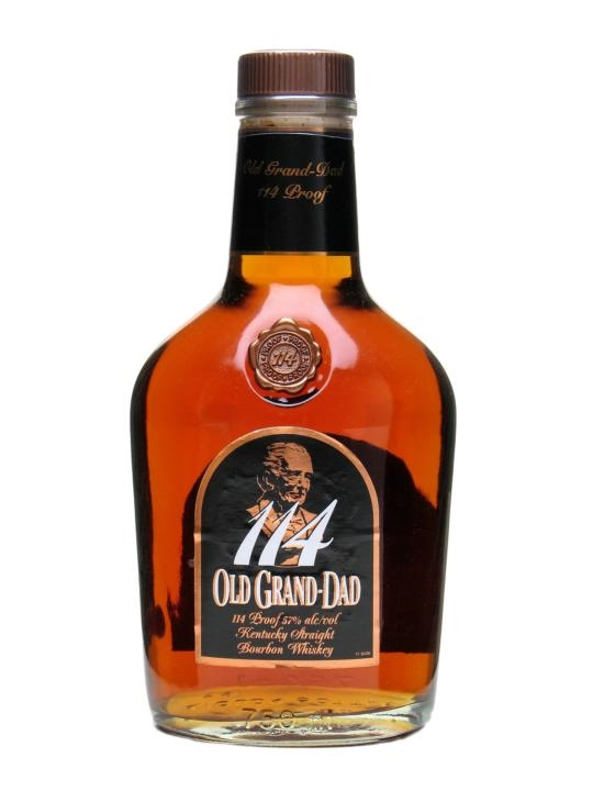 OLD GRAND-DAD 114  AROMA  Cinnamon, brown sugar, and rye heat. Fainter hints of orange peel and spice also tag along for the ride  TASTE  Fruity but very firm with rye present  FINISH  Full bodied finish. Long, candied after taste with red hot cinnamon present