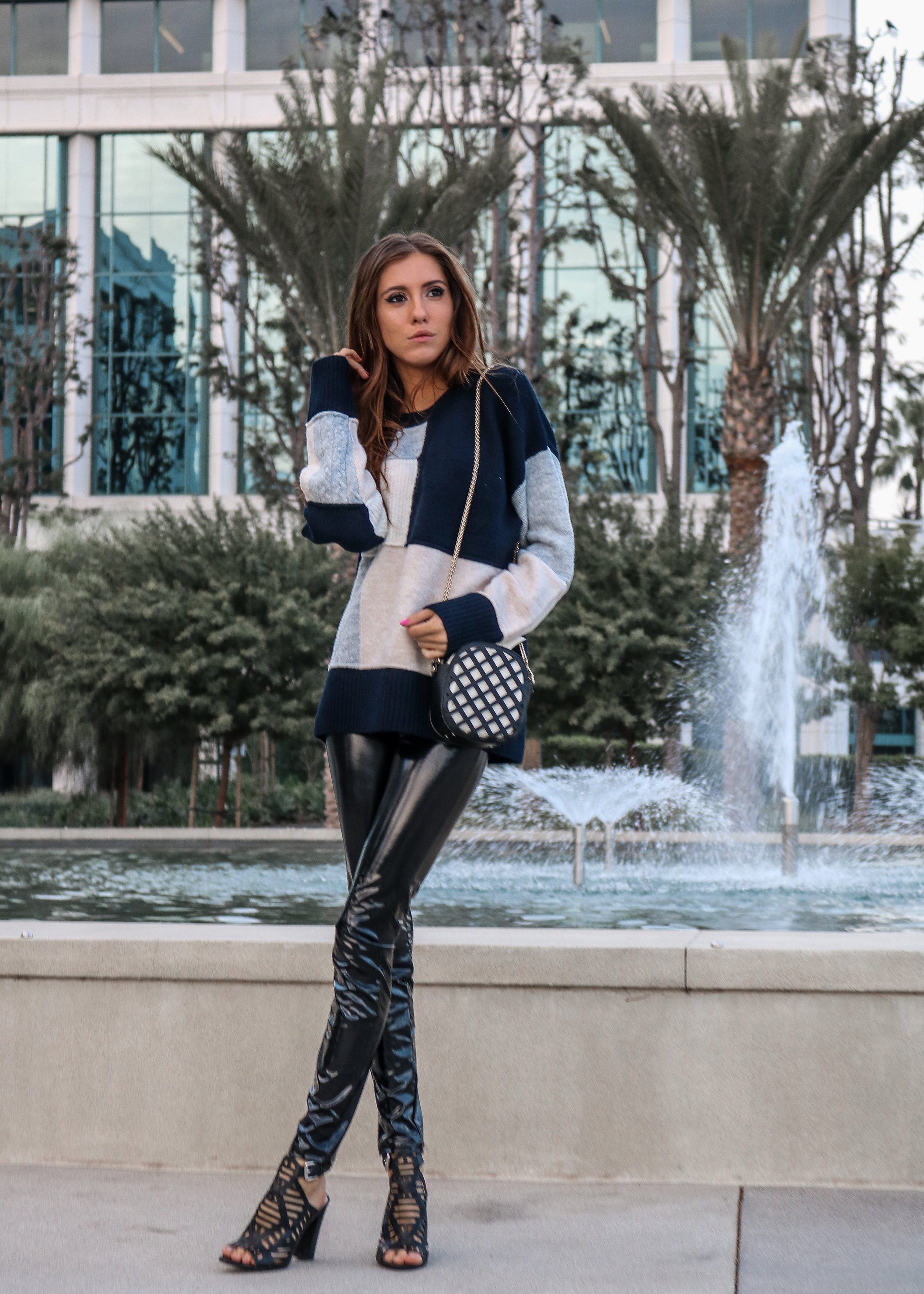 The Hungarian Brunette Color block sweater and latex pants (1 of 19).jpg