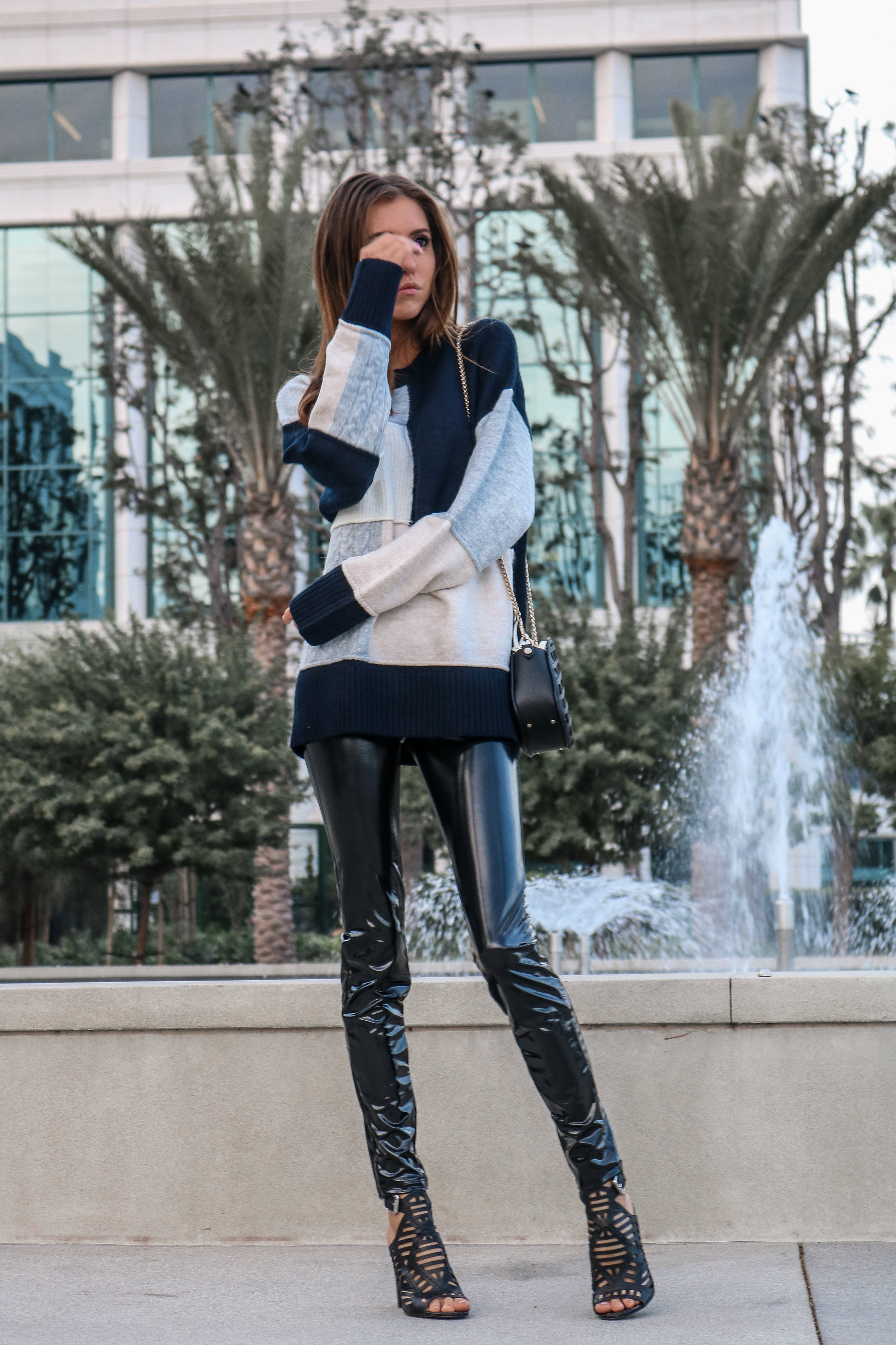 The Hungarian Brunette Color block sweater and latex pants (5 of 19).jpg