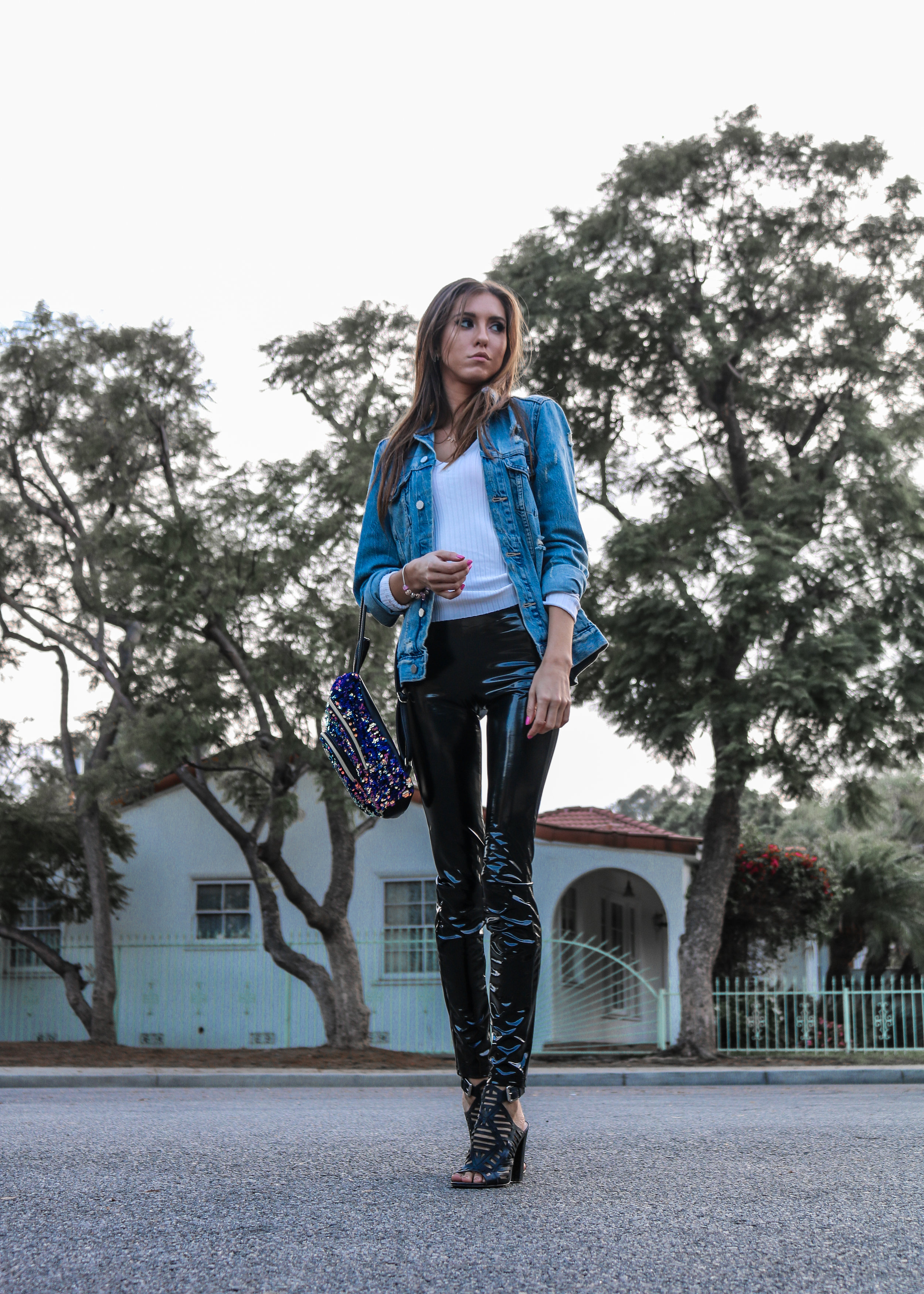 The Hungarian Brunette Plastic pants and denim jacket (7 of 7).jpg