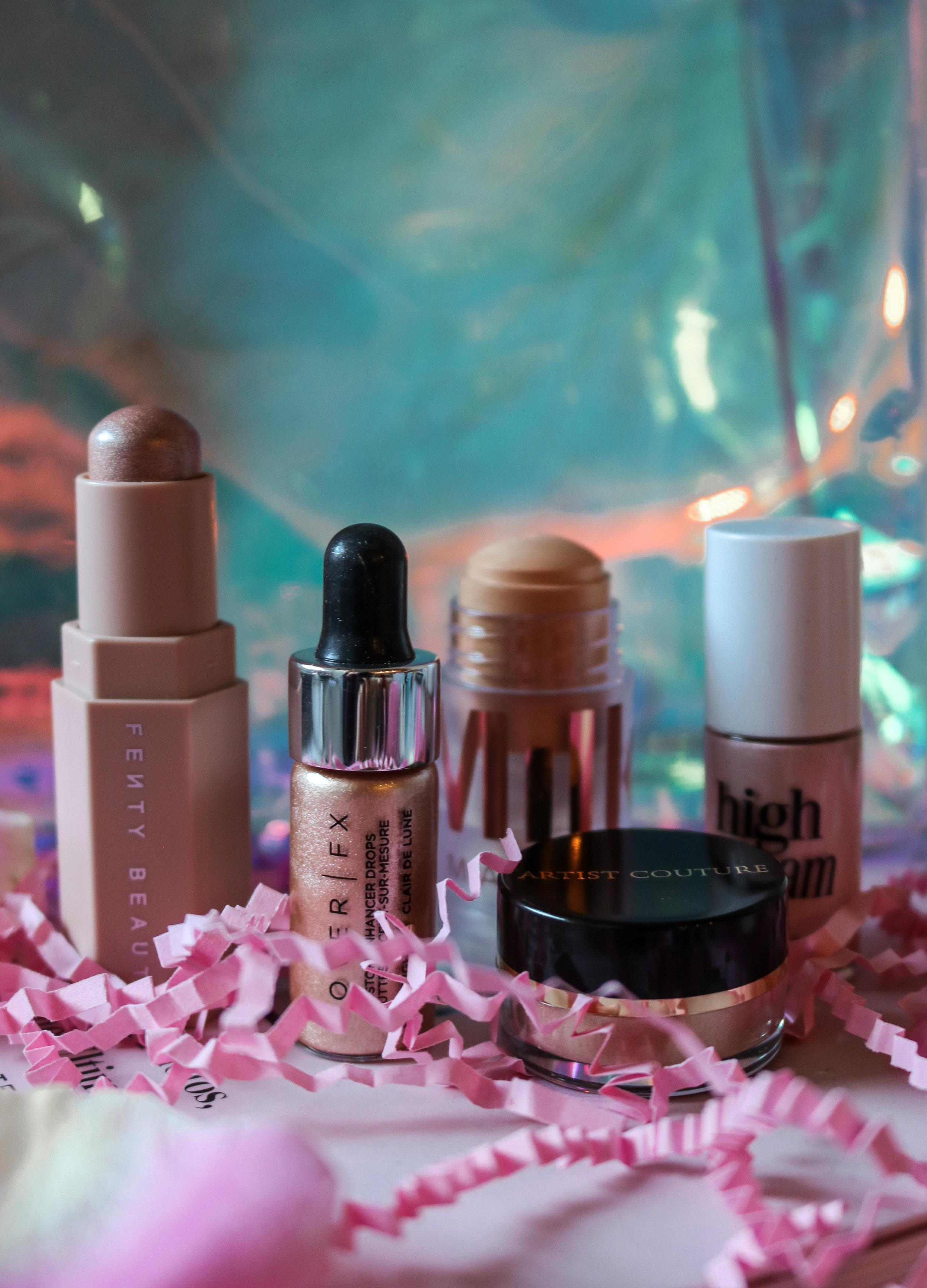 The Hungarian Brunette glow for it sephora favourites hihglighter set review - Milk makeup luminous blur stick, Fenty Beauty Match Stix, Benefit high beam, cover fx enhancer drops, artist couture diamond glow powder (1 of 3).jpg