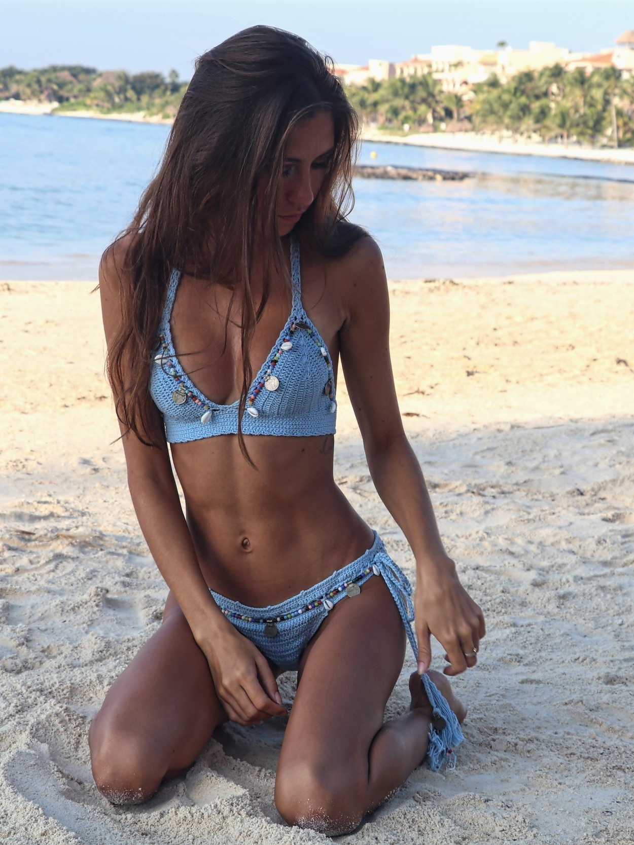 The Hungarian Brunette My 5 favourite bikinis flattering for skinny girls with small boobs - Andi Bagus blue seashells crochet bikini