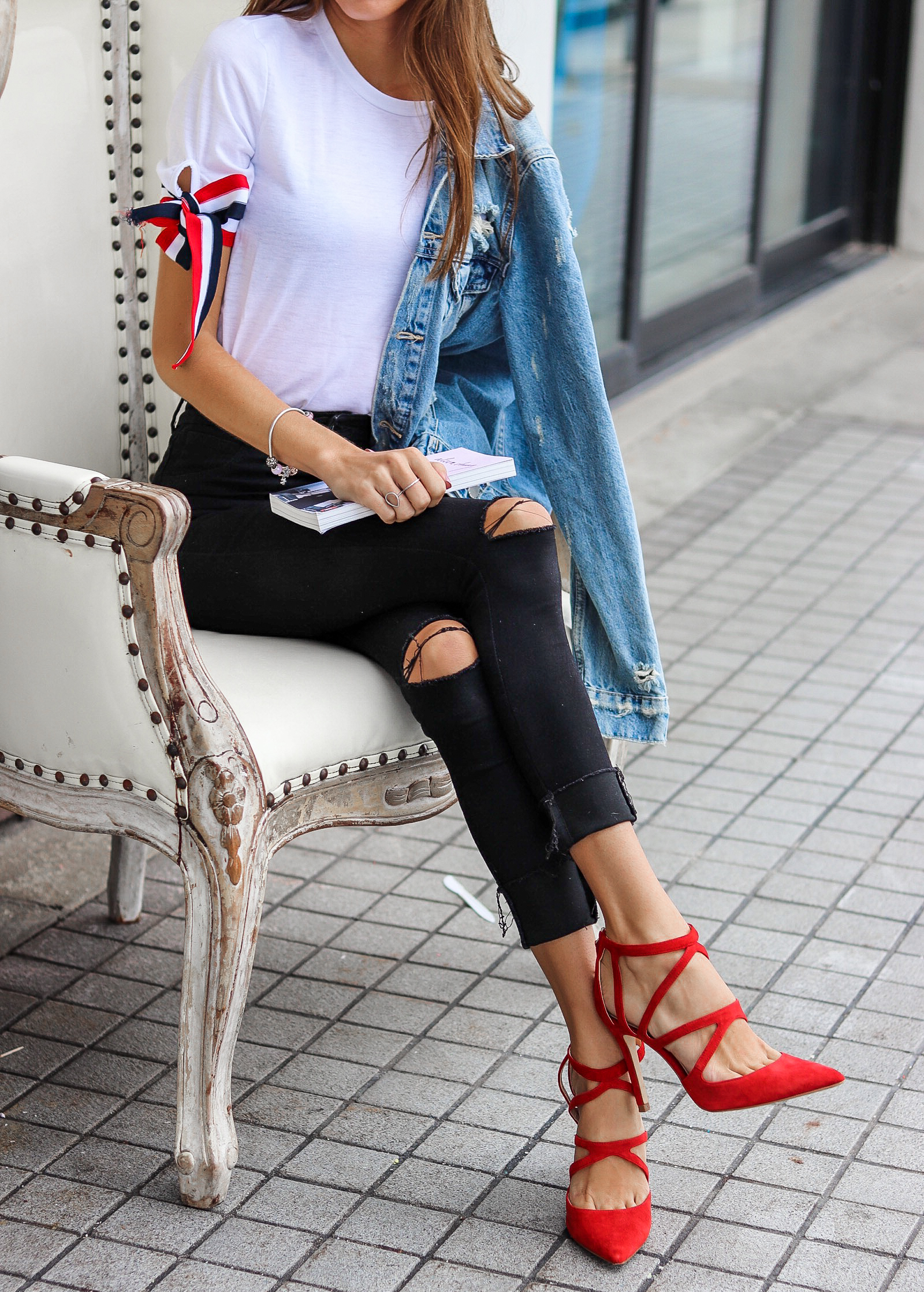 The Hungarian Brunette Outfit Inspo - OOTD self-tie bow sleeves and red pumps