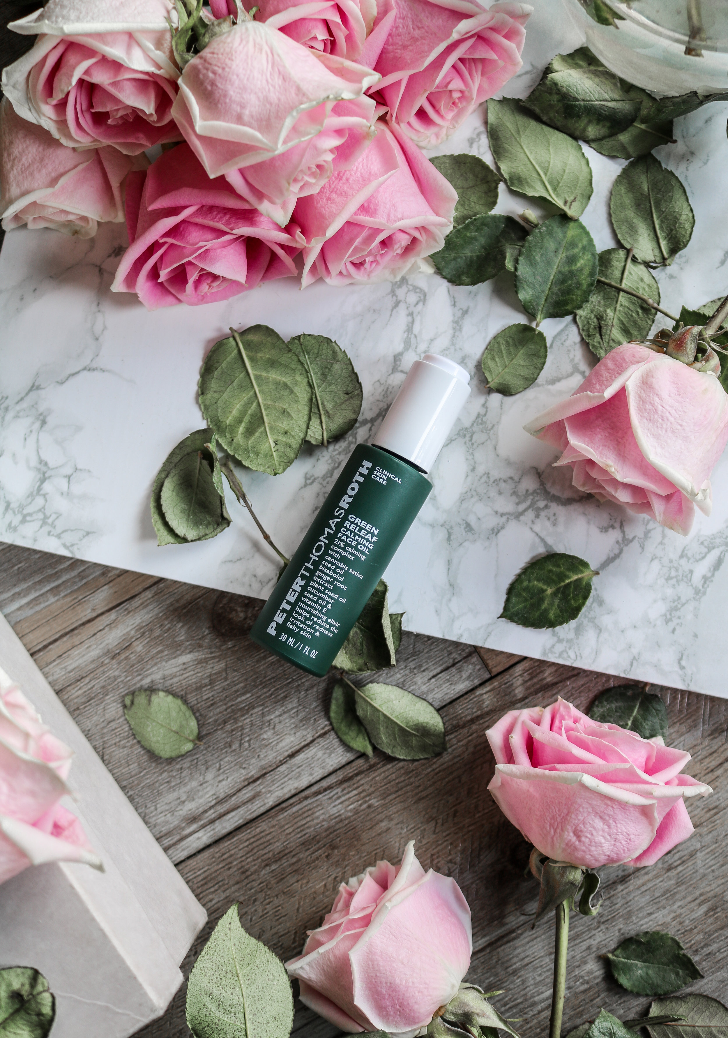 The Hungarian Brunette Peter Thomas Roth green releaf calming face oil review (cannabis sativa seed oil)