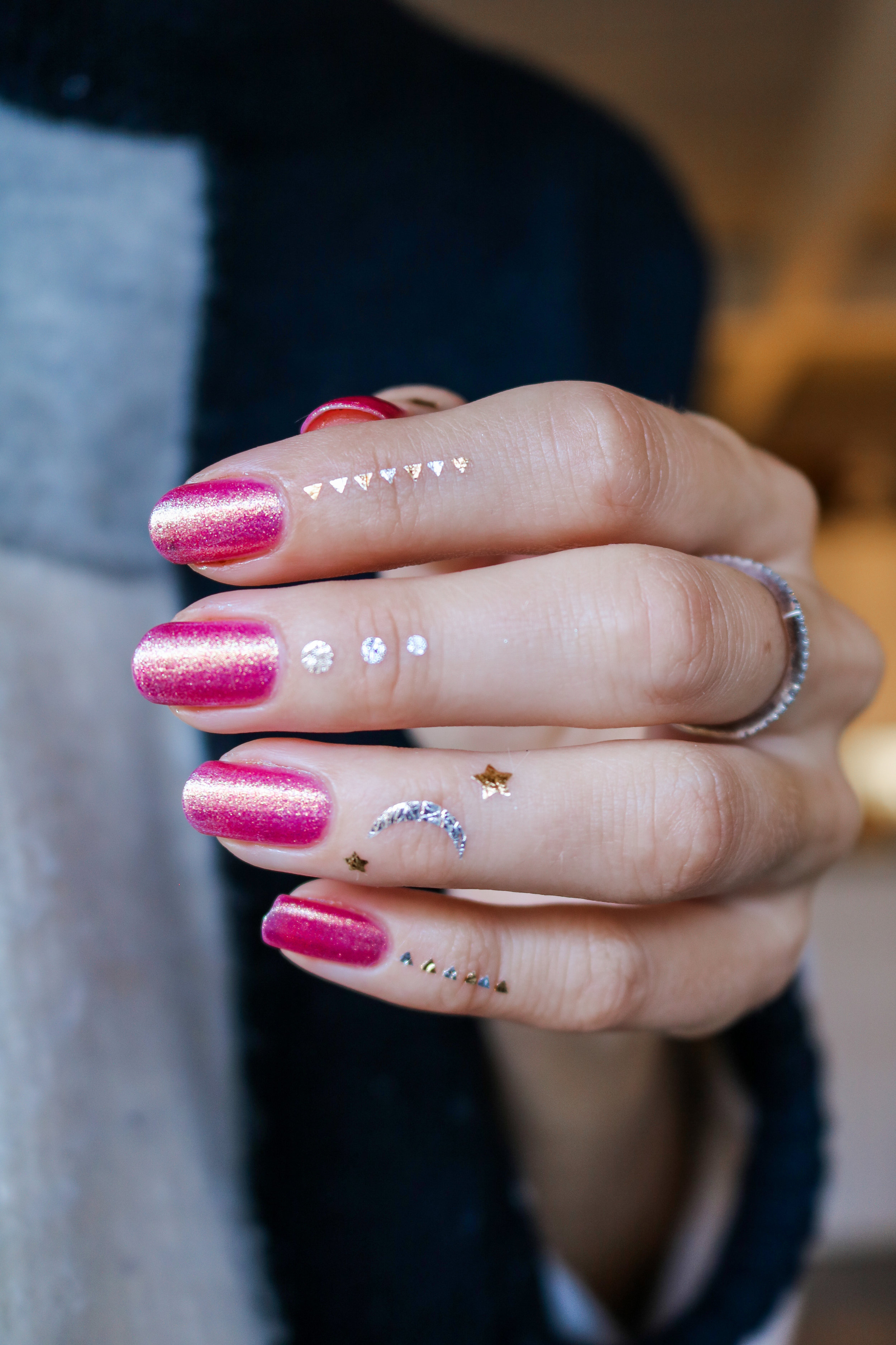 The Hungarian Brunette Urban Outfitter nail polish in Damsel - sparkly pink with gold undertones (6 of 6).jpg