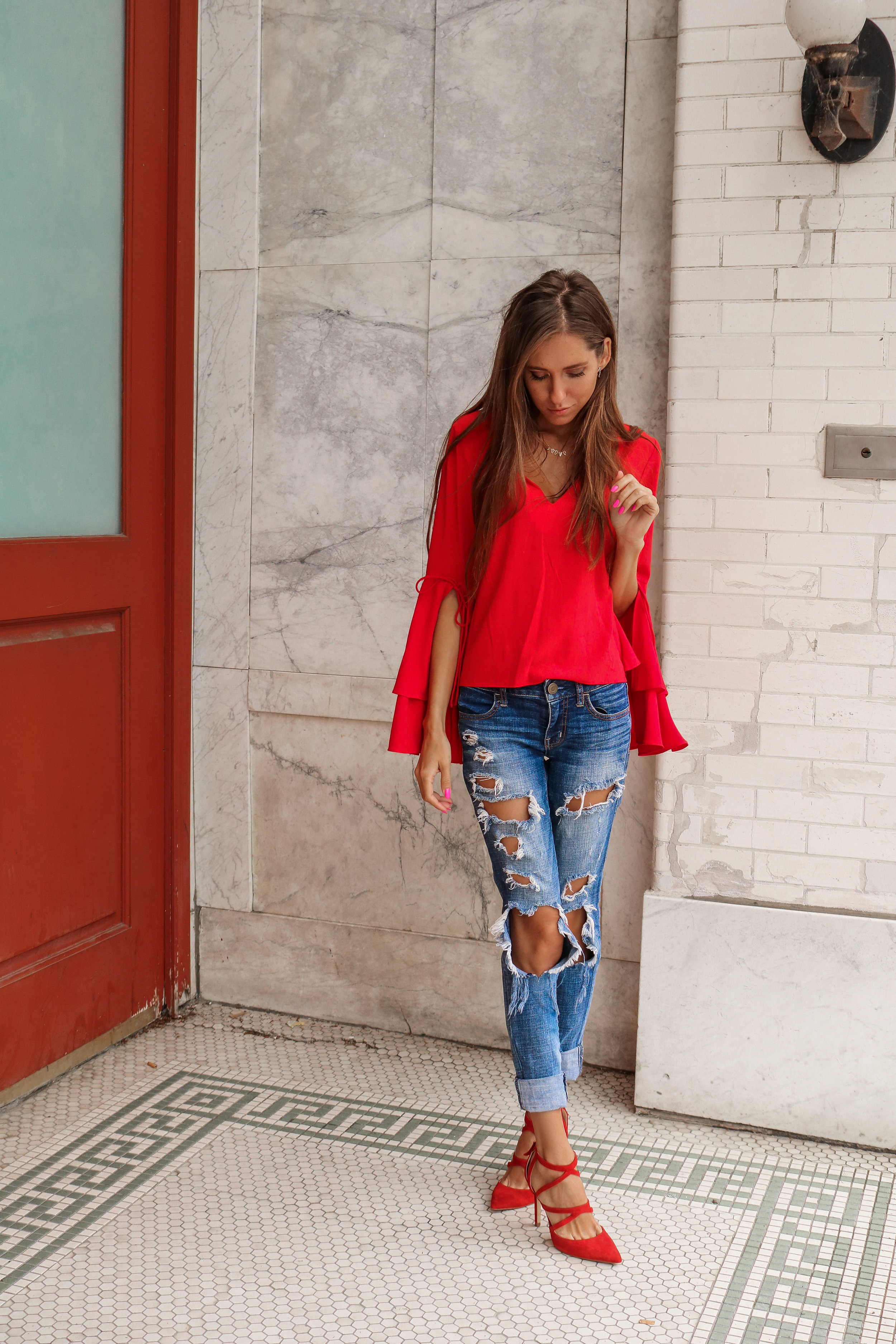 The Hungarian Brunette OOTD red bells sleeves and red tops I'm obsessed with (2 of 3).jpg