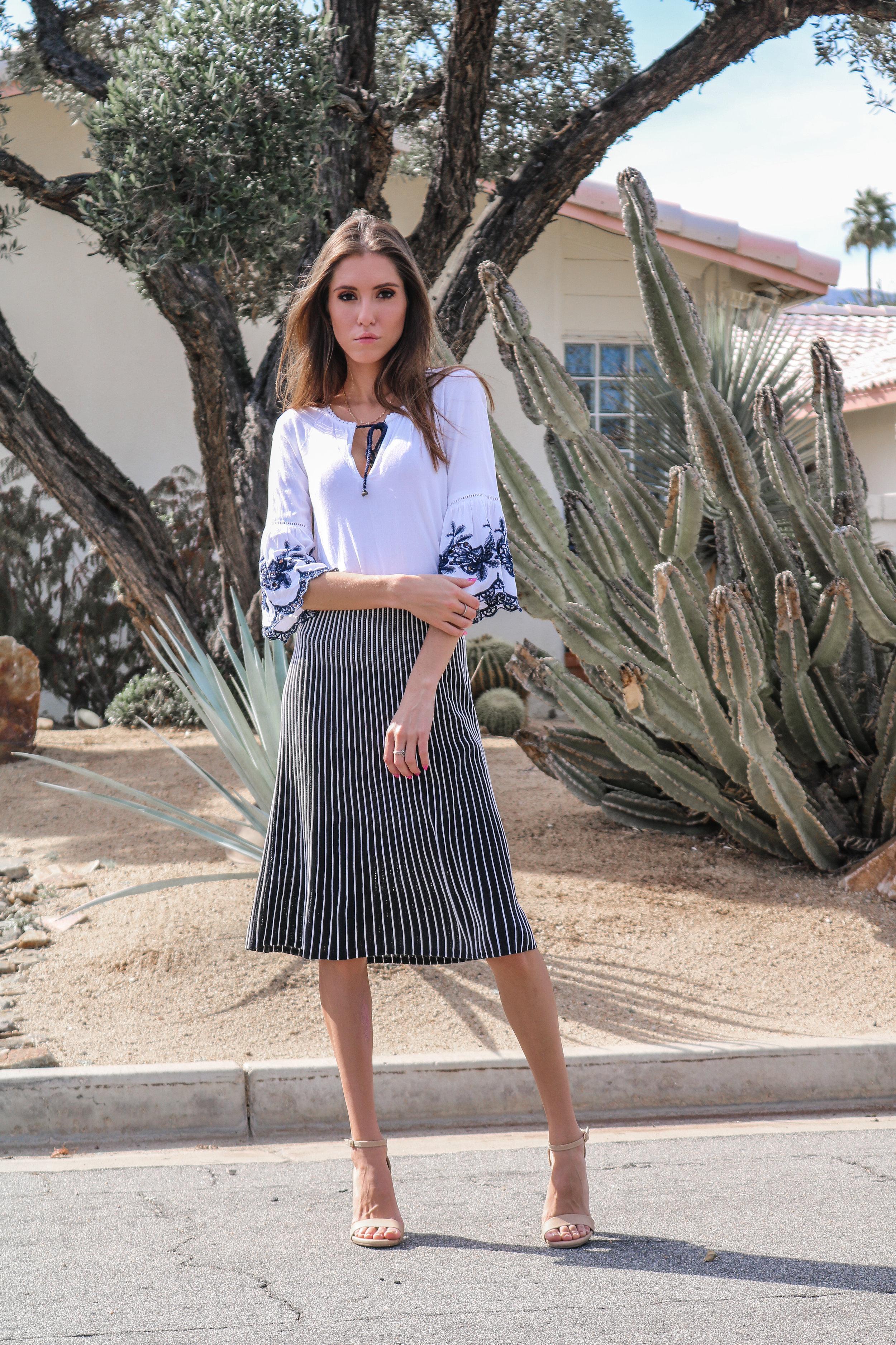 The Hungarian Brunette OOTD midi skirt and embroidered bell sleeves (2 of 12).jpg