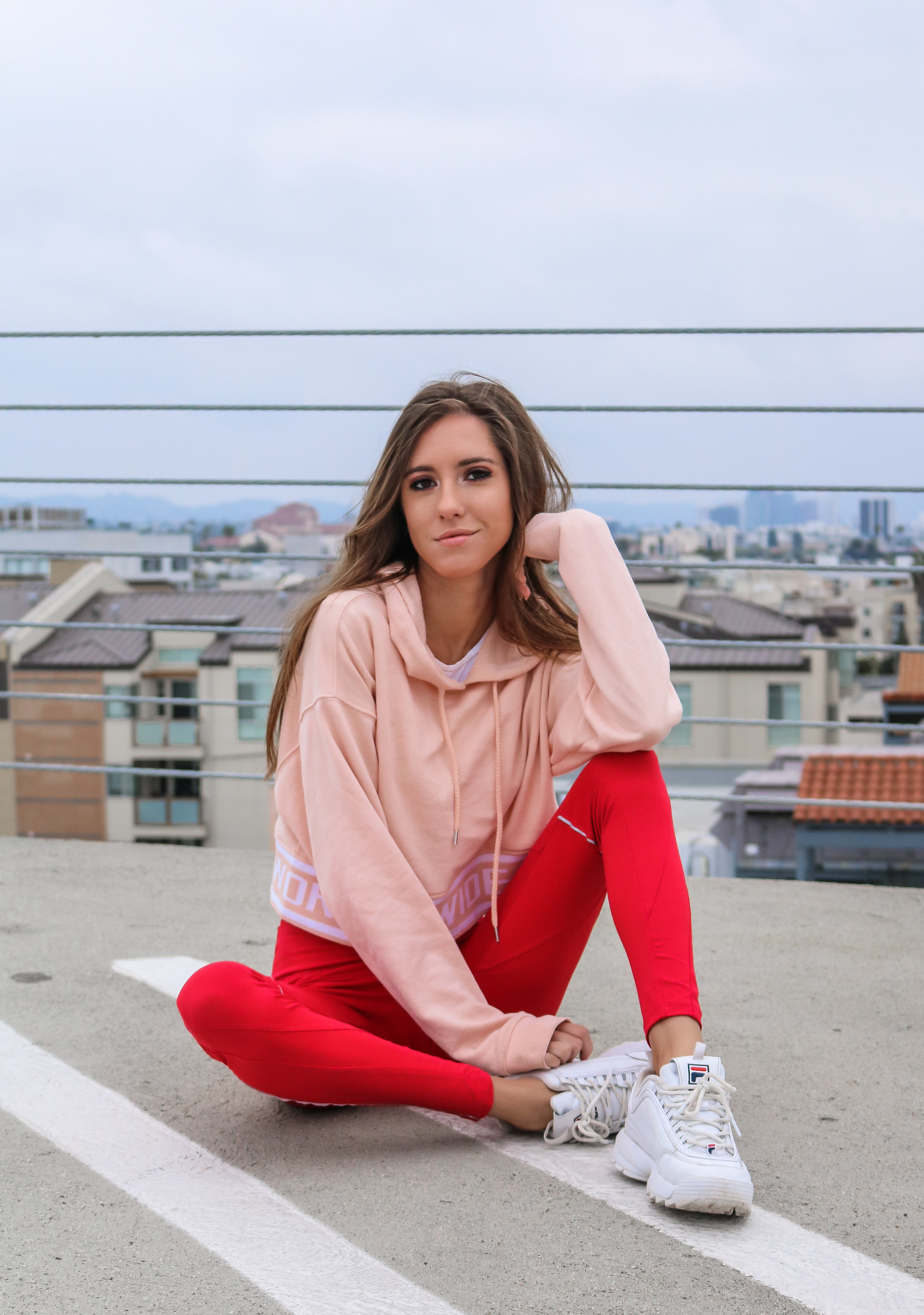 The Hungarian Brunette Red yoga pants and pink cropped sweater (2 of 14).jpg