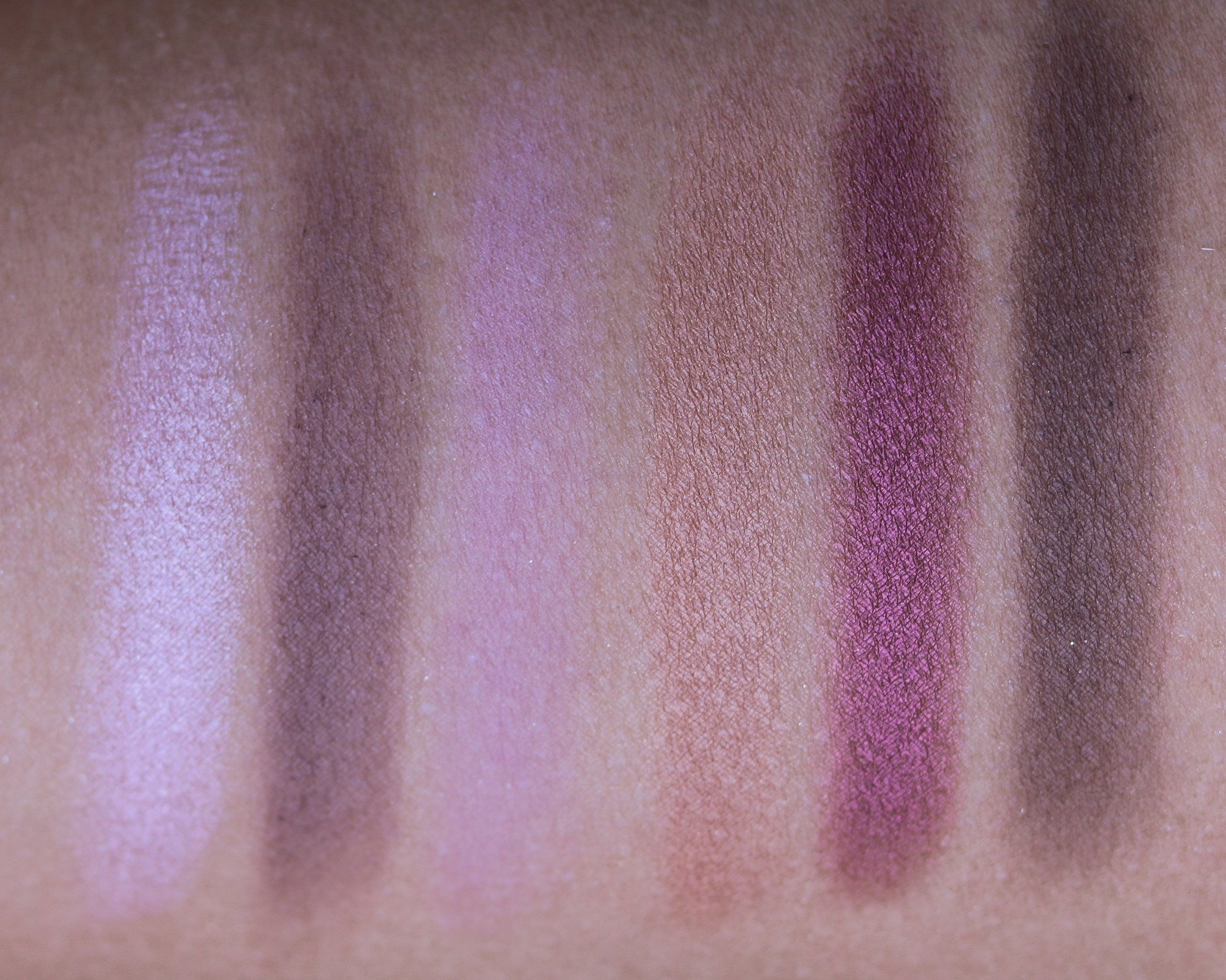 From left to right: Petal, Stunning, Lilac, Tender, Plum, Charcoal.