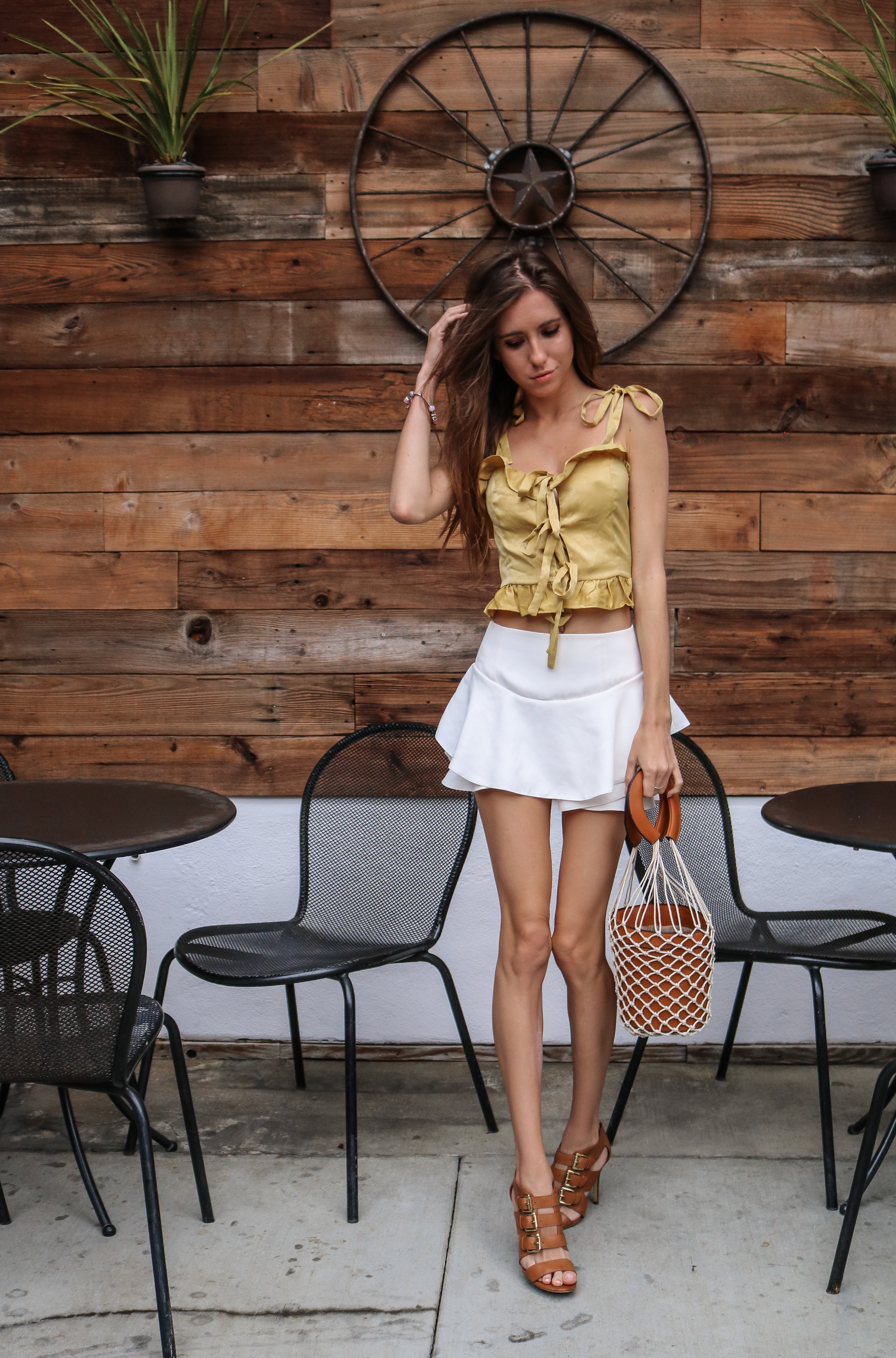 The Hungarian Brunette Yellow satin top and net bag (10 of 12).jpg
