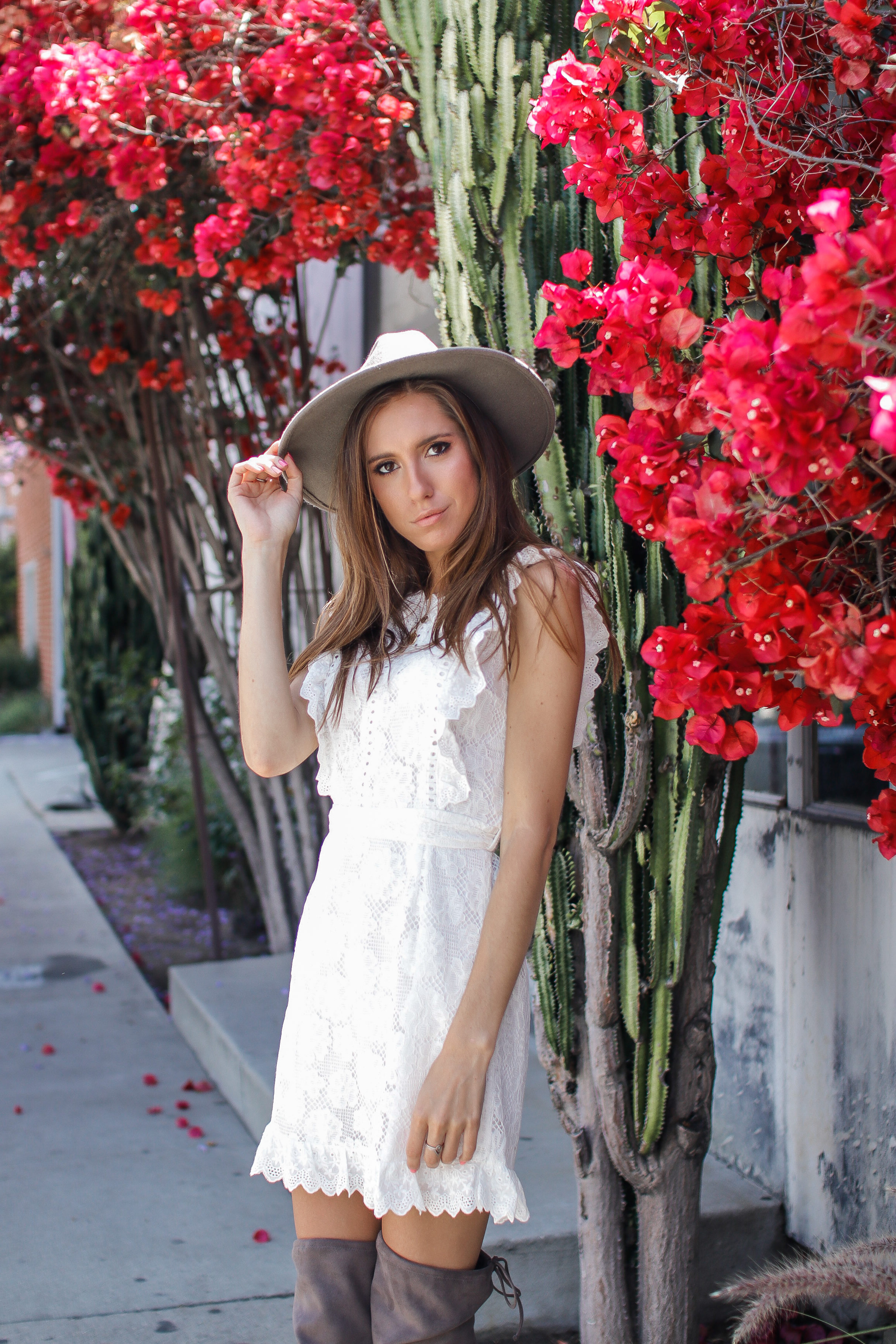 The Hungarian Brunette White lace dress