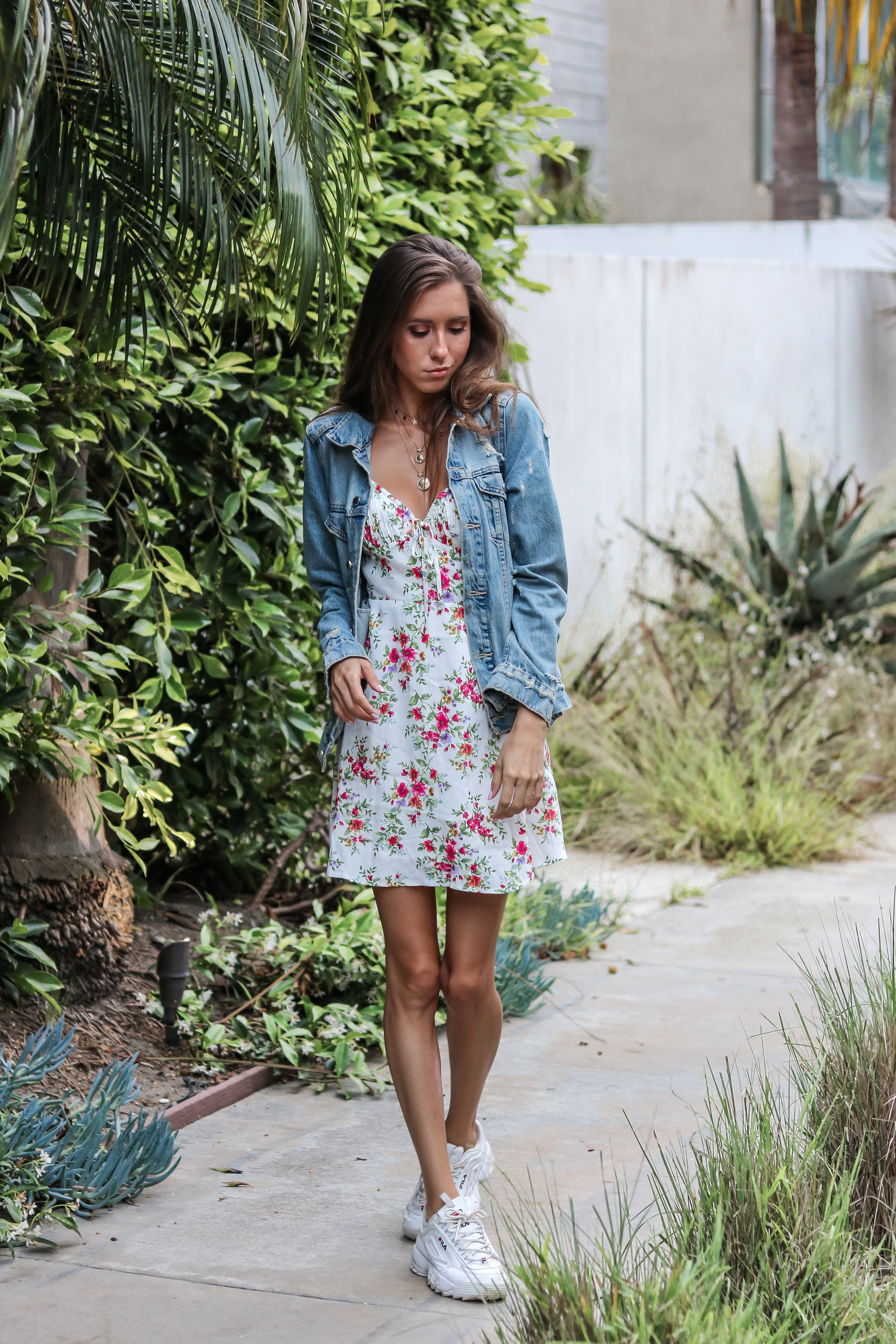 The Hungarian Brunette  3 ways to wear a denim jacket for summer - casual feminine look - floral mini dress and sneakers
