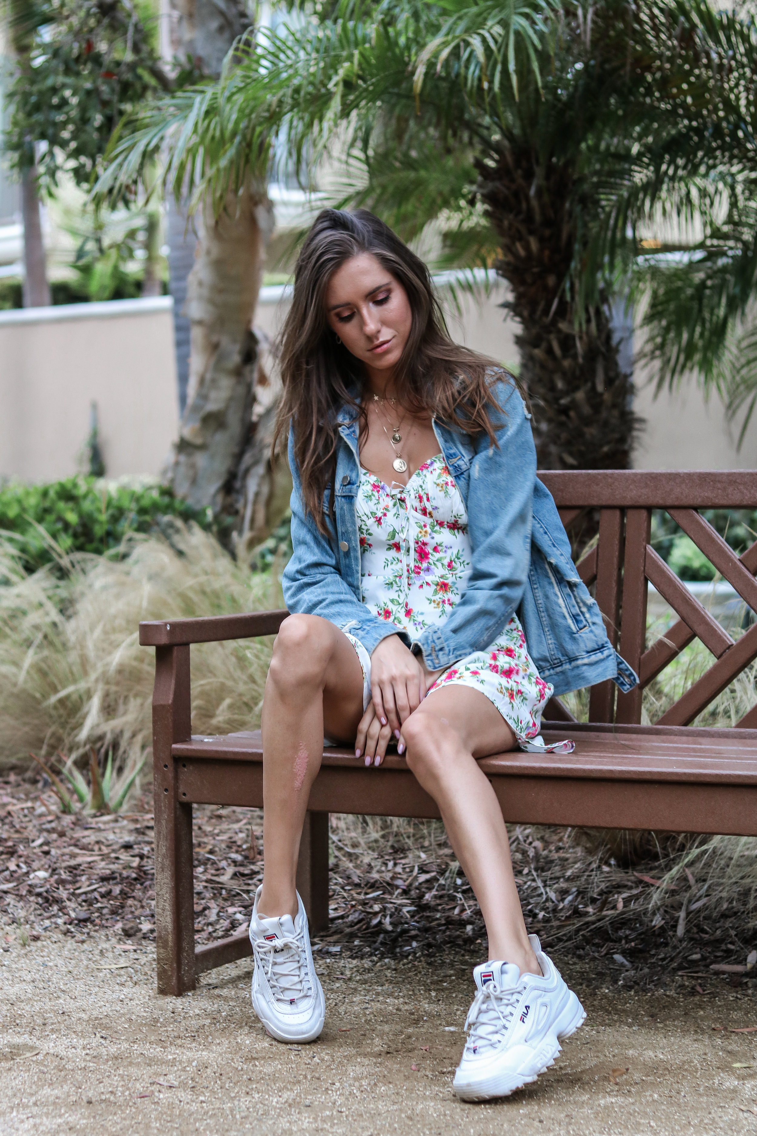 The Hungarian Brunette - 3 ways to wear a denim jacket - Feminine and casual - white mini dress and sneakers