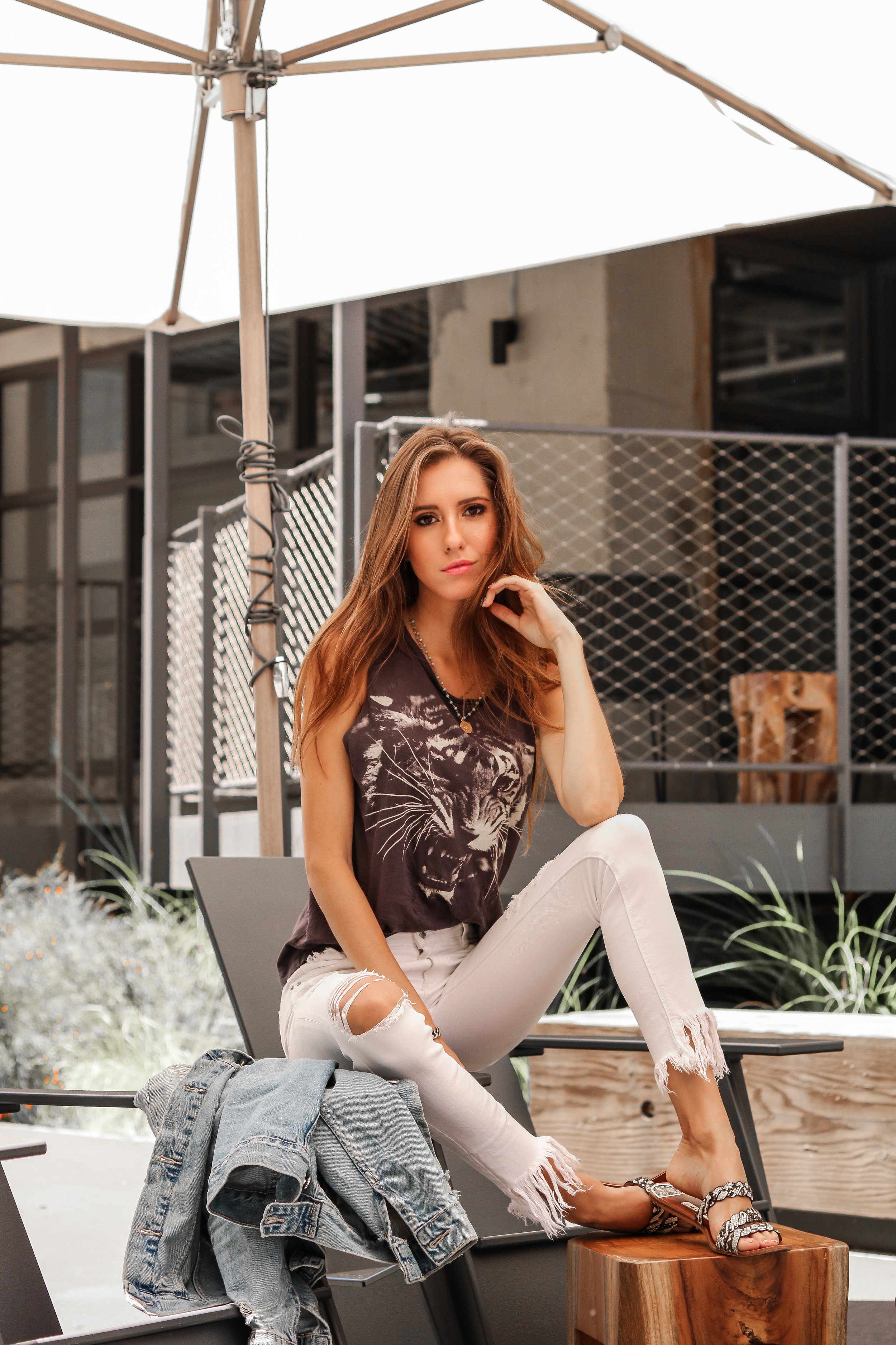 The Hungarian Brunette 3 ways to wear a denim jacket for summer The Mom Look: With white jeans and a graphic tank