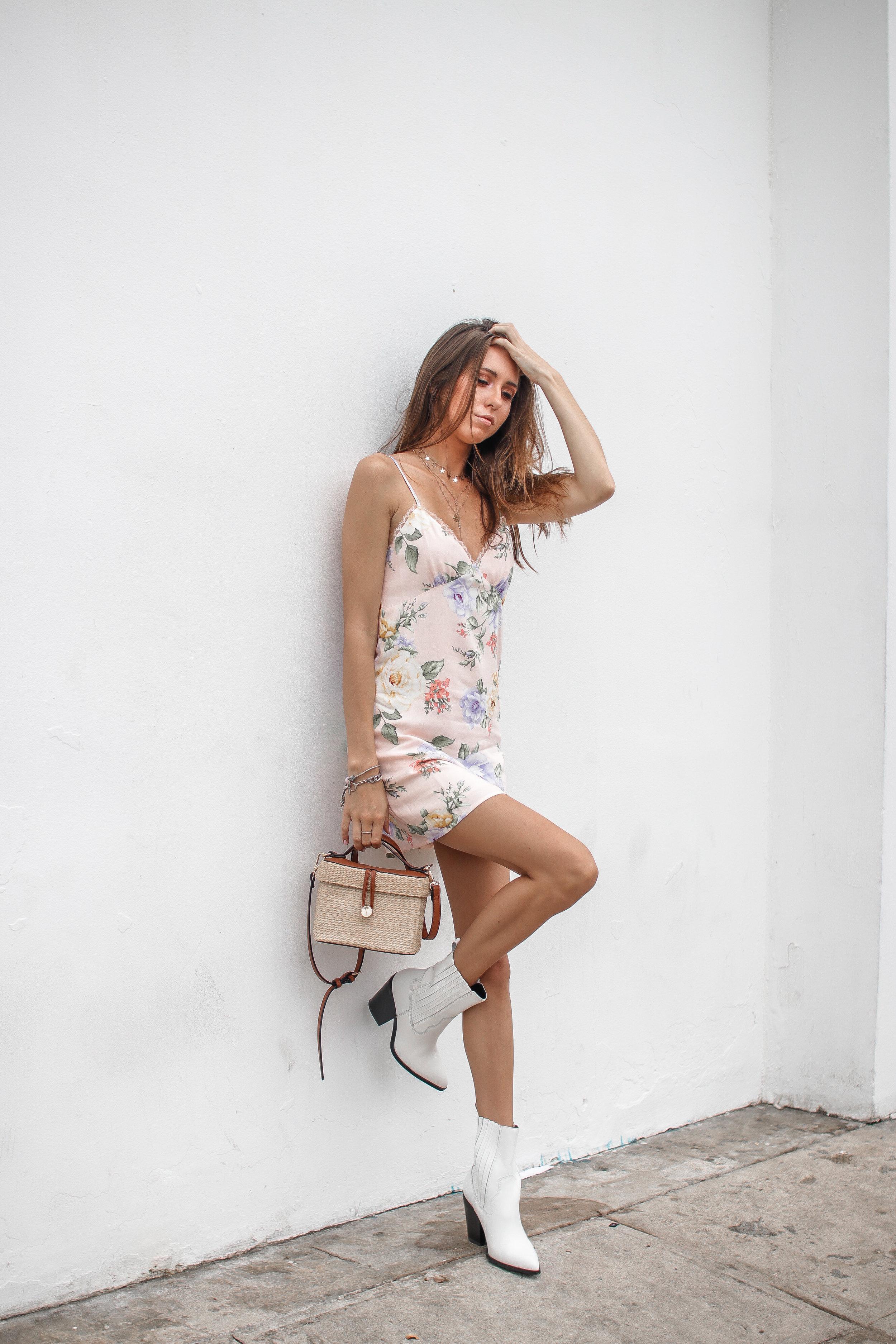 The Hungarian Brunette Pink floral slip dress + favourite little floral dresses for summer