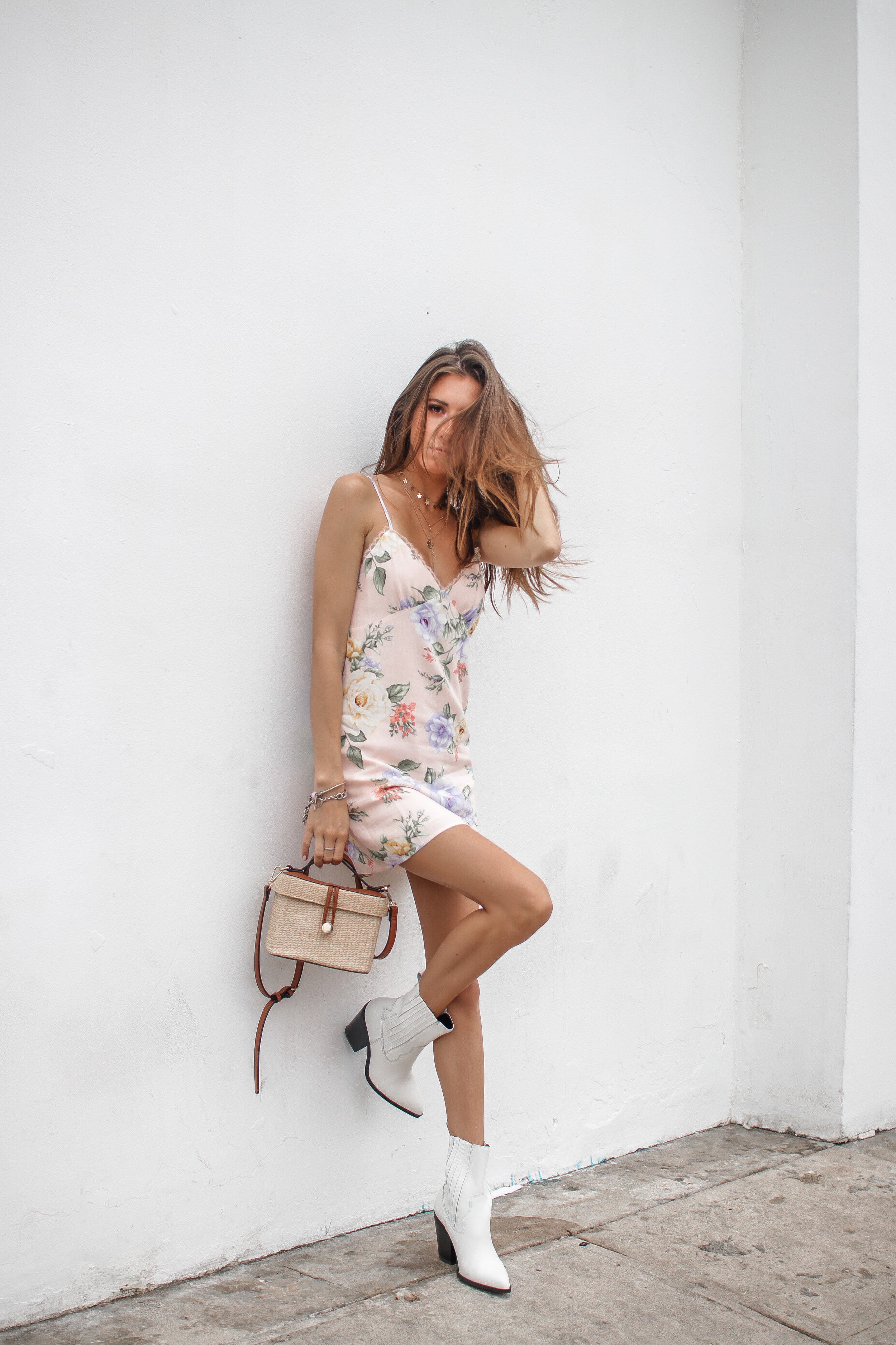 The Hungarian Brunette Pink floral slip dress + 30 dresses to wear when it's too hot to wear clothes