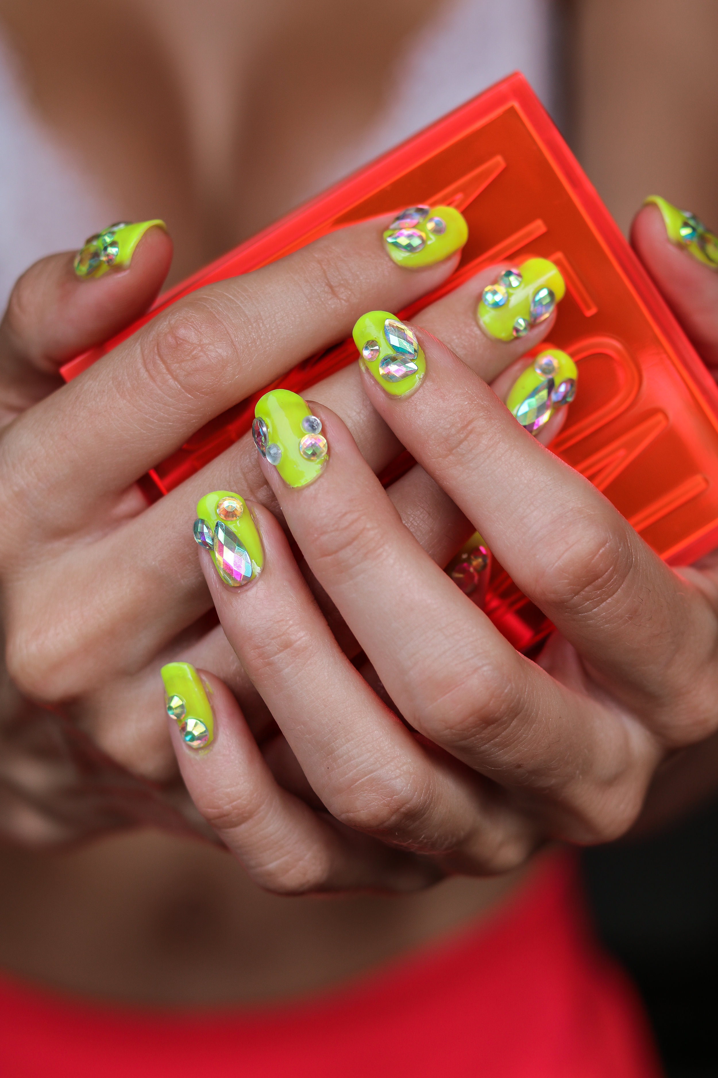 The Hungarian Brunette Summer Blinged out Neon Yellow nails with festival crystal accents (6 of 9).jpg