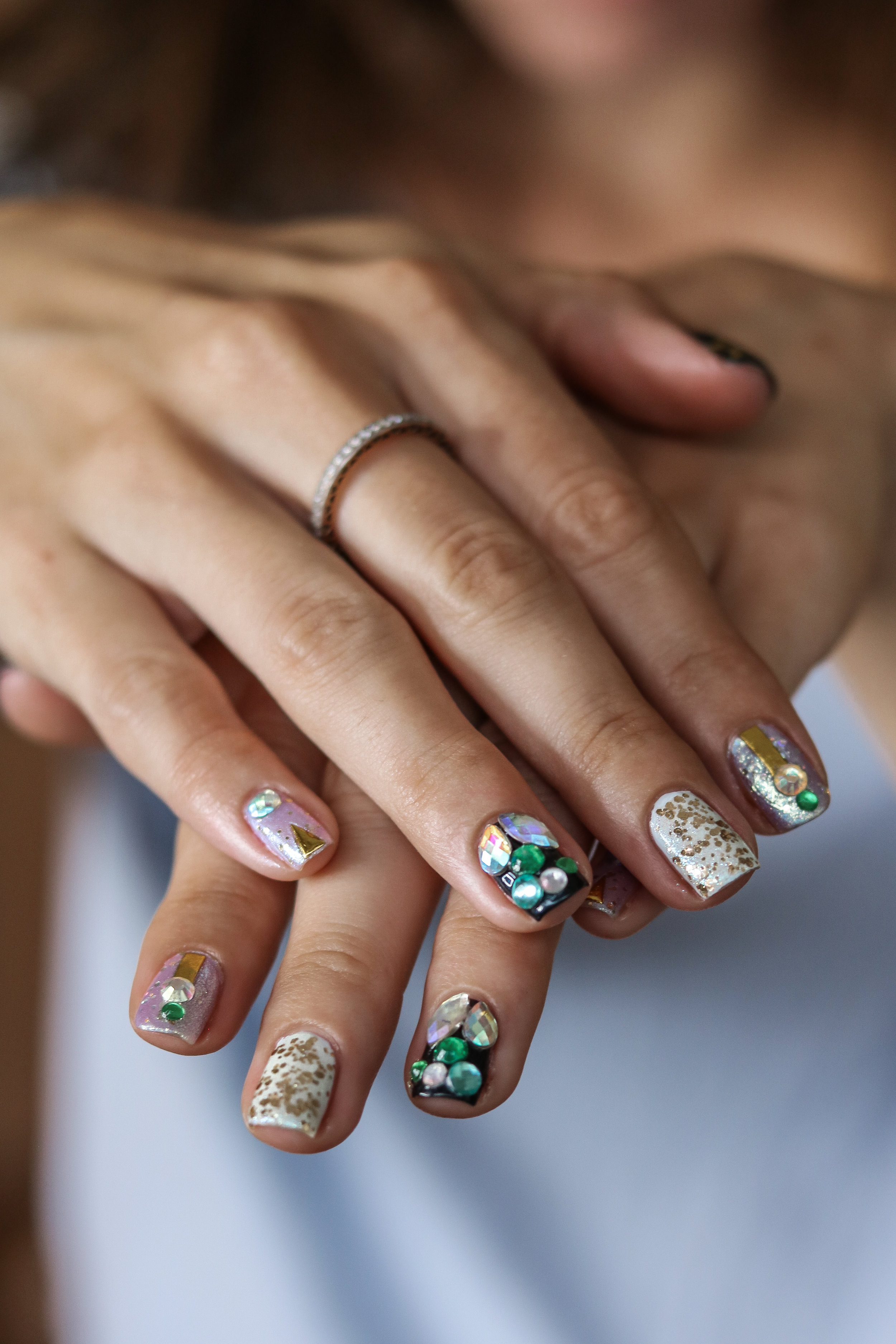 The Hungarian Brunette Blue glitter, sparkles, crystal, gold geometric and stars nail art (7 of 8).jpg