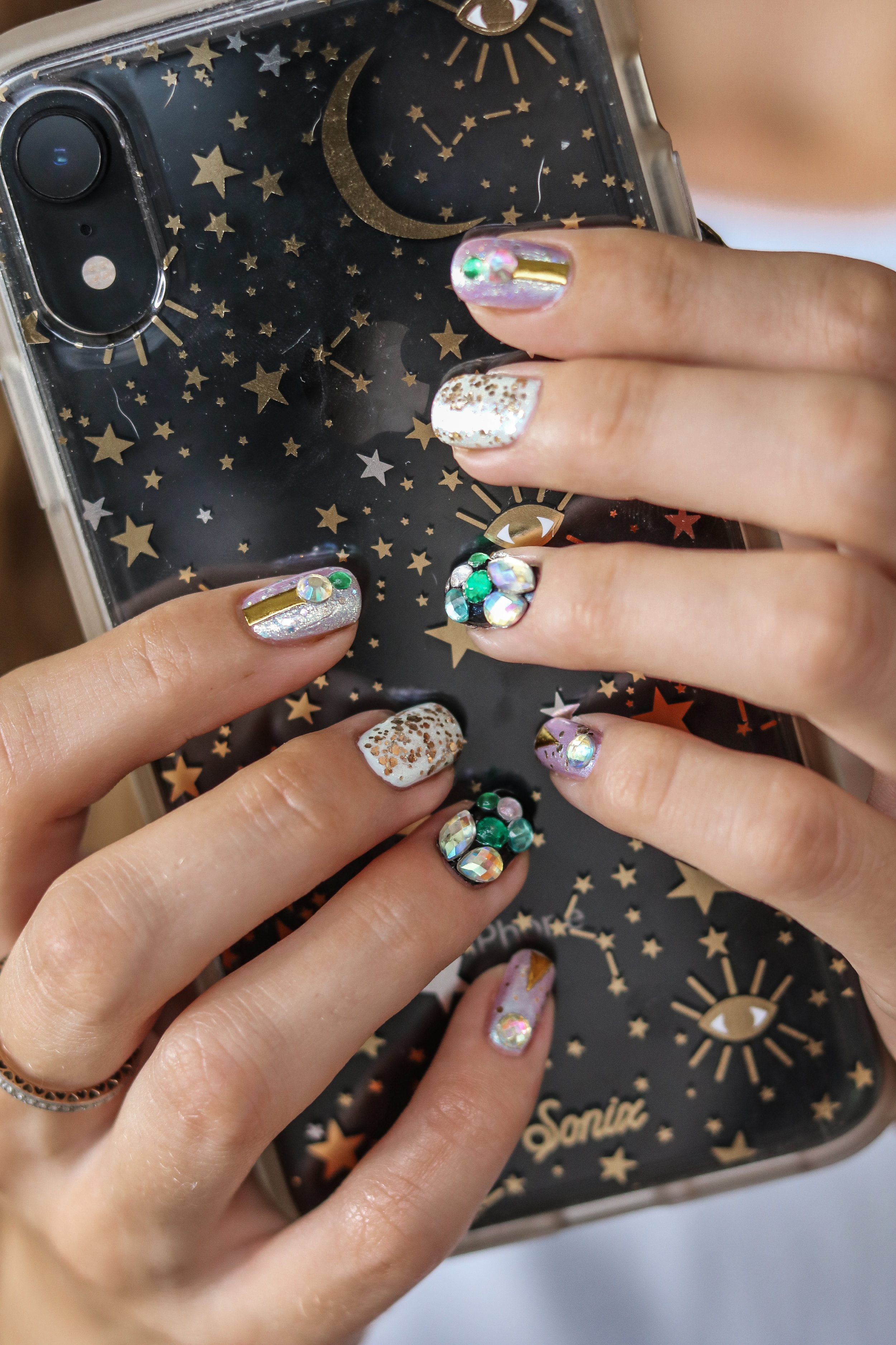 The Hungarian Brunette blue themed glitters crystals and gold geometric accent nail at tutorial