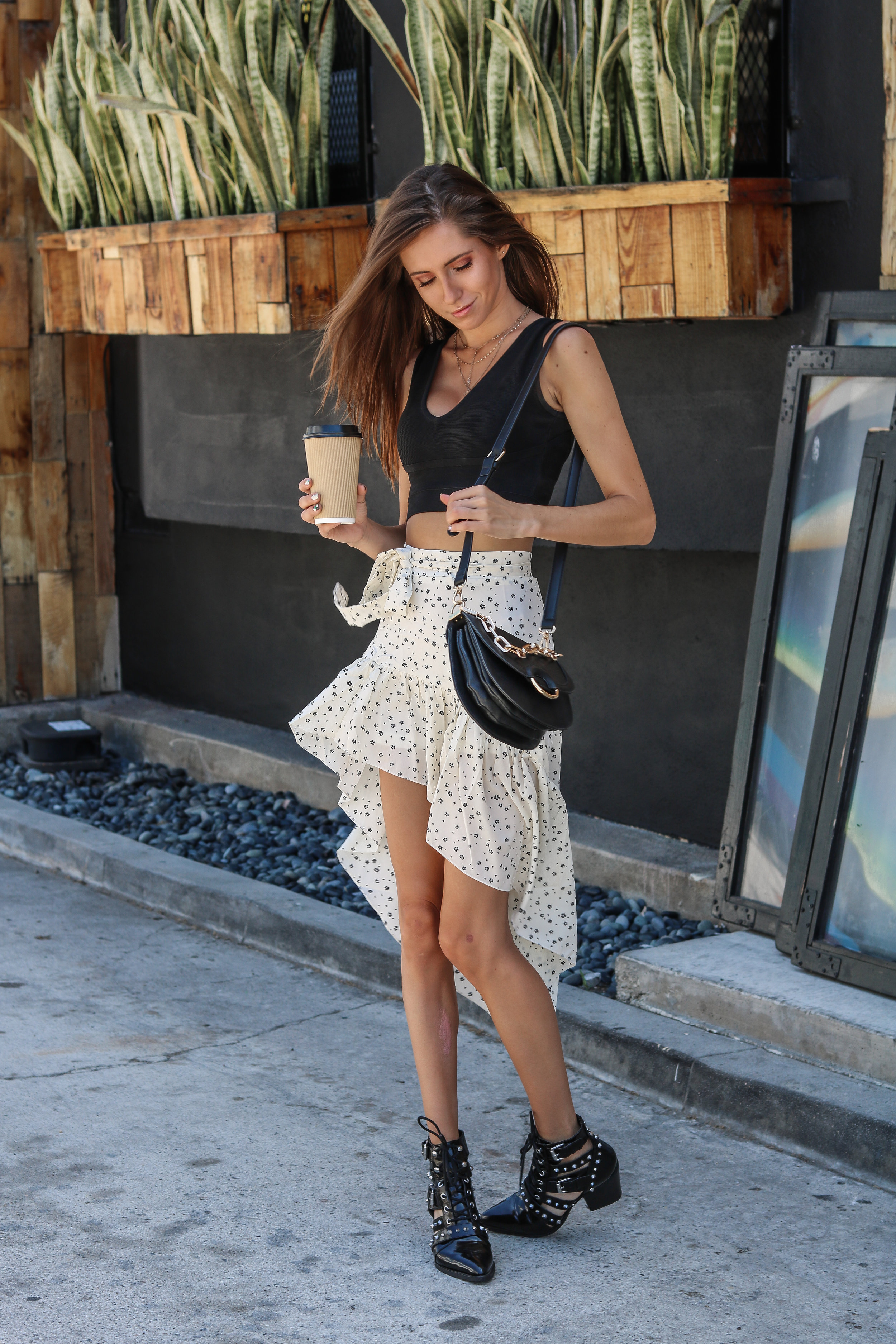 The Hungarian Brunette OOTD inspo: boho vibes with a high low skirt plus 20 options to shop