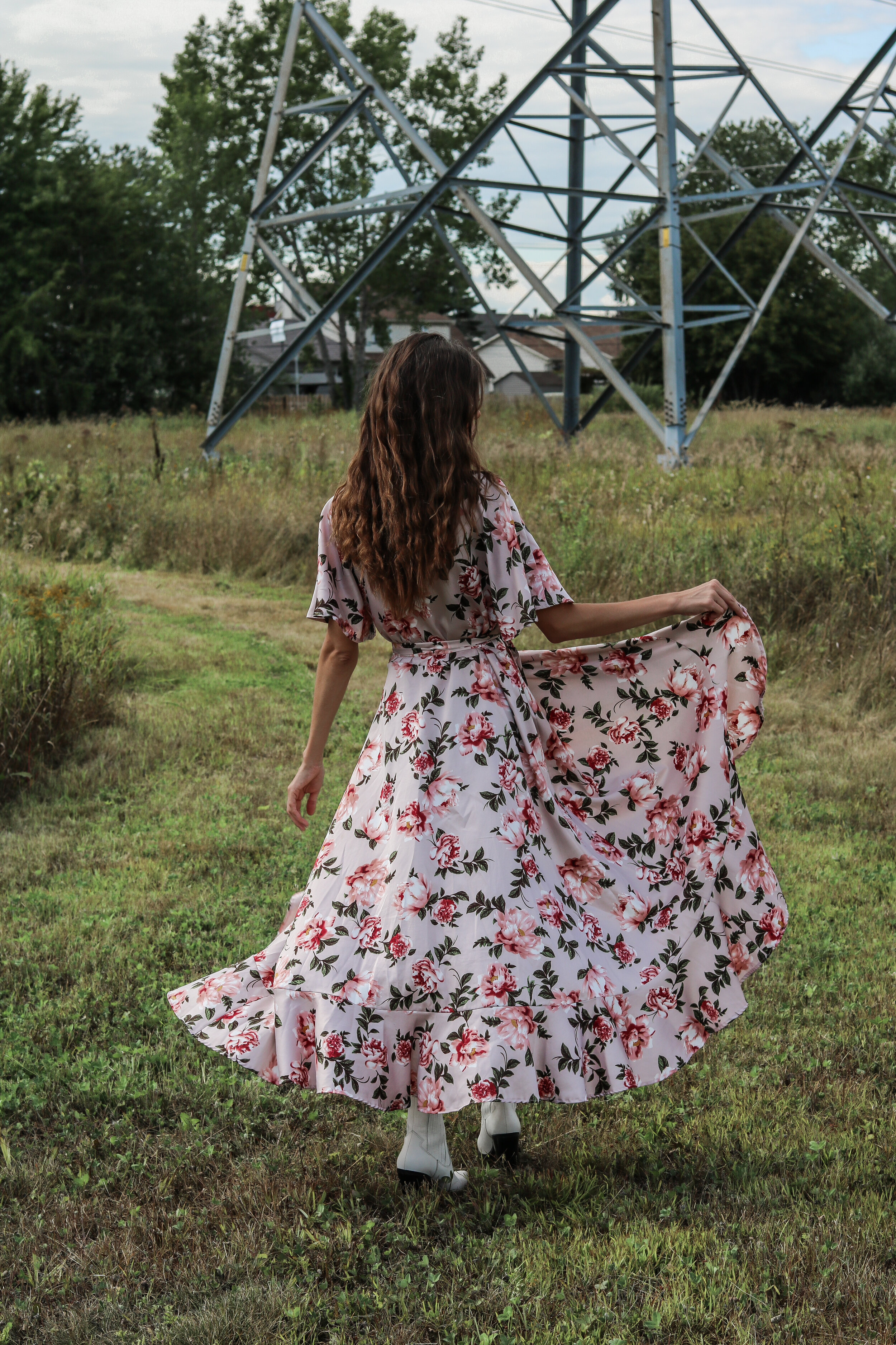 The Hungarian Brunette Floral Maxi dress - the perfect fall wedding guest dress