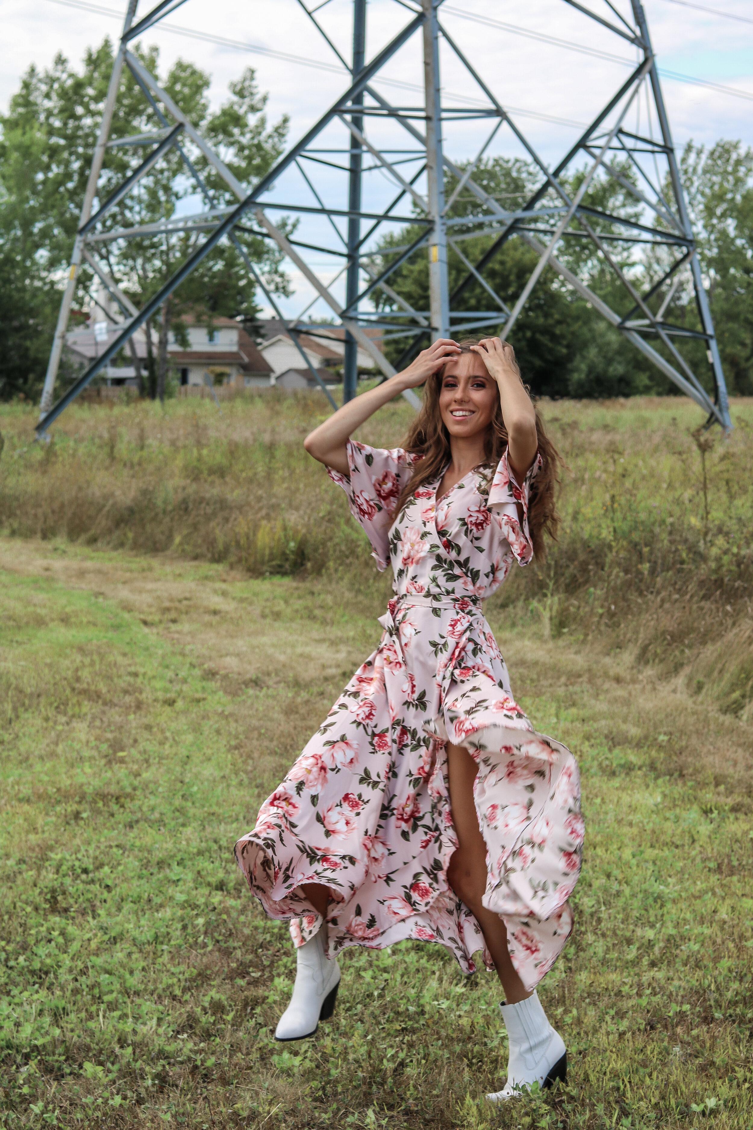 The Hungarian Brunette Fall wedding guest dress, maxi wrap floral dress