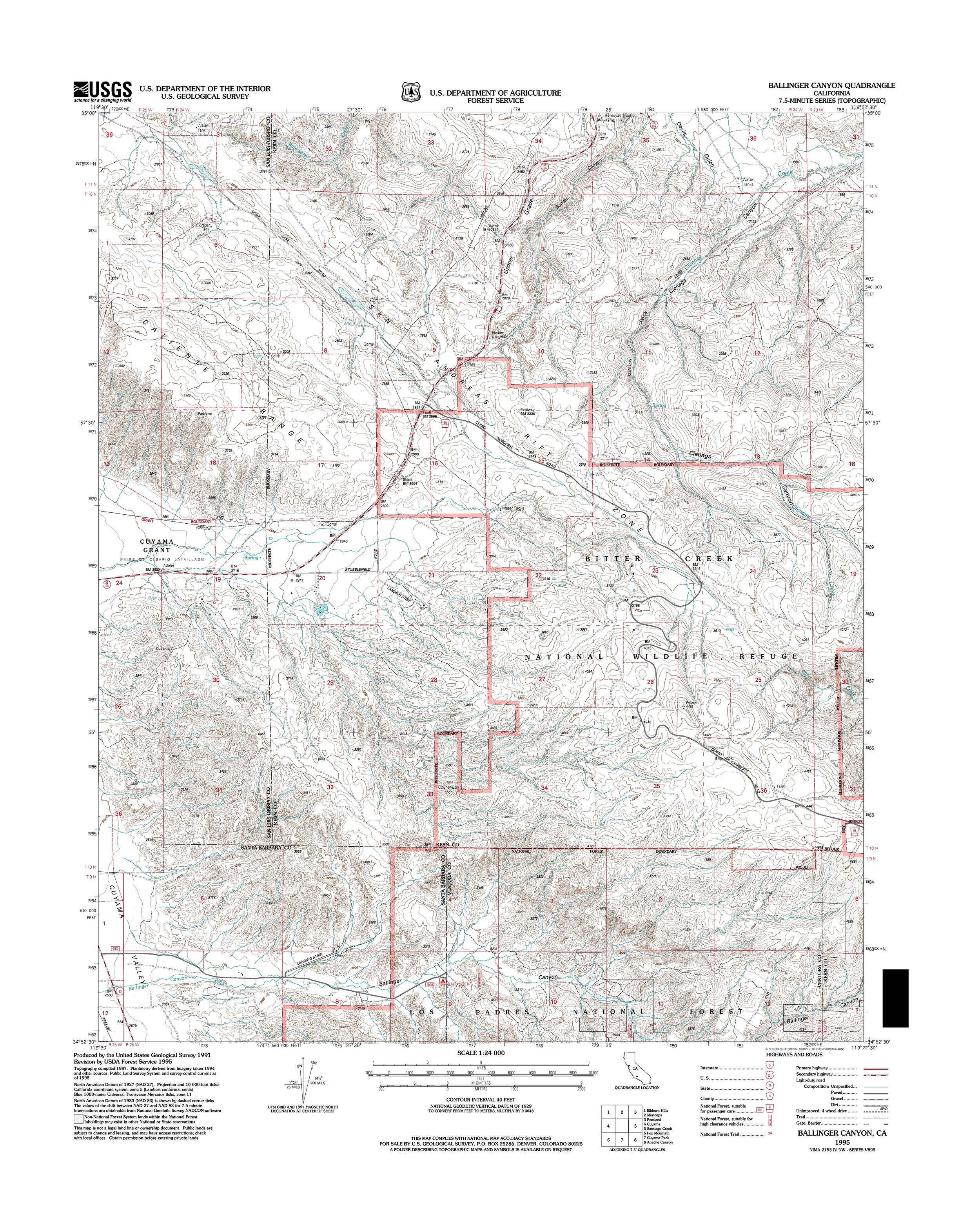 Ballinger Canyon Topography Map