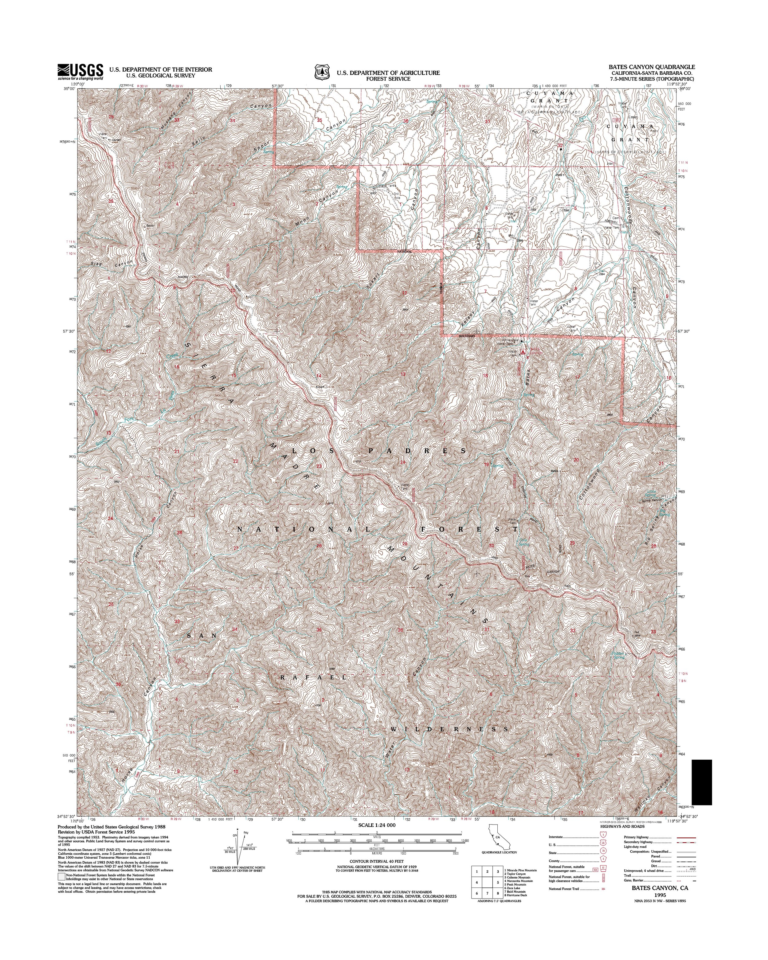 Bates Canyon Topography Map