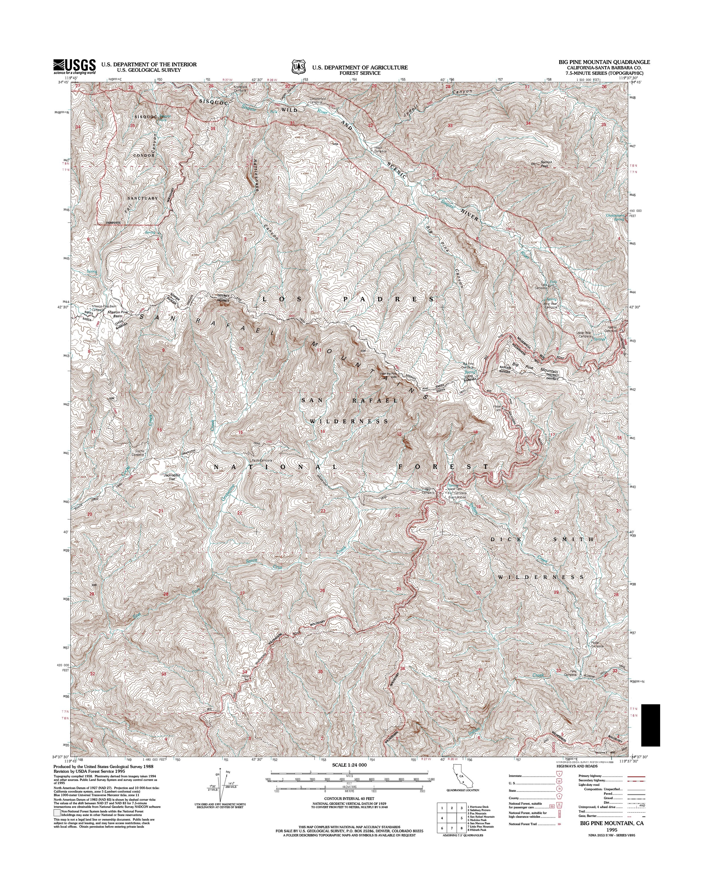 Big Pine Mountain Topography Map